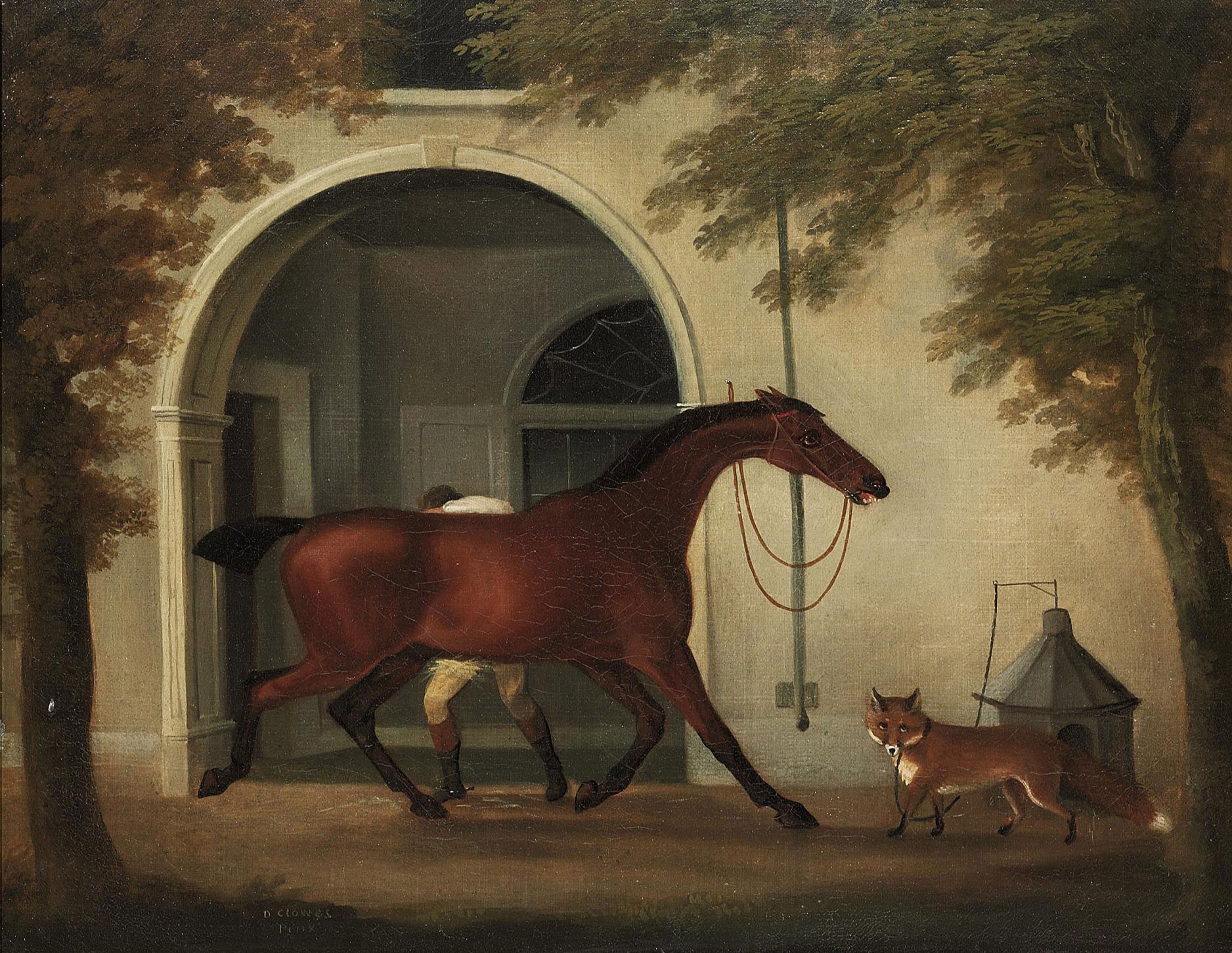 A groom rubbing down a hunter outside a stable, with a fox nearby
