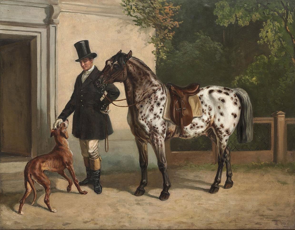 A huntsman with his dog and a piebald pony