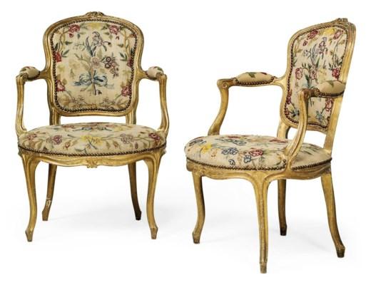 a pair of louis xv giltwood fauteuils en cabriolet circa. Black Bedroom Furniture Sets. Home Design Ideas