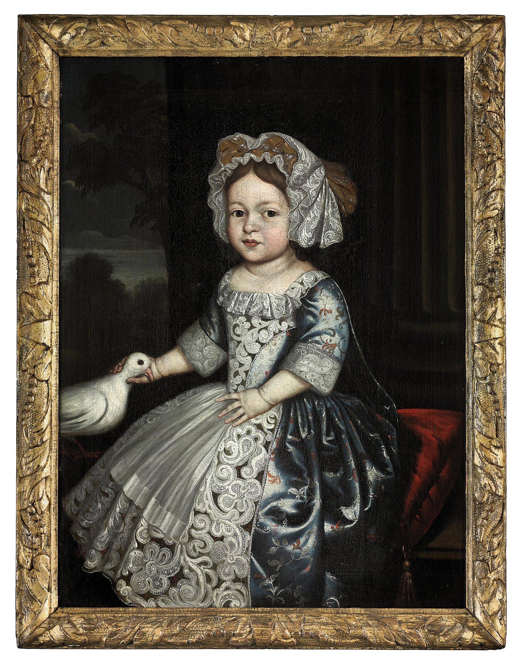 Portrait of a girl, three-quarter-length, in a blue dress with lace apron and bonet, a dove in her right hand, seated on a red cushion, beside a column, a landscape beyond