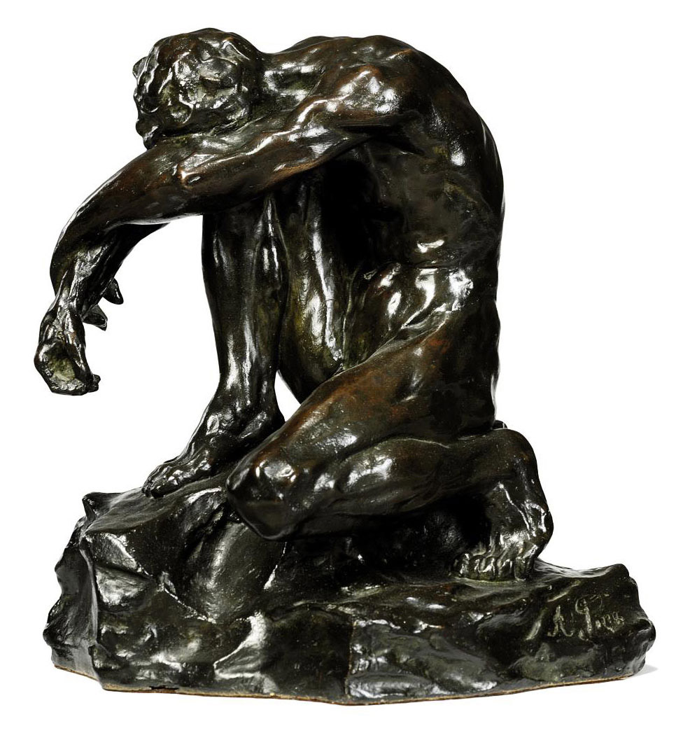 AN ITALIAN BRONZE FIGURE OF A PENSIVE NUDE MAN, KNOWN AS 'THE VANQUISHED'