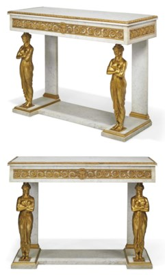 A Pair Of Empire Style Ormolu Mounted White Marble Pier
