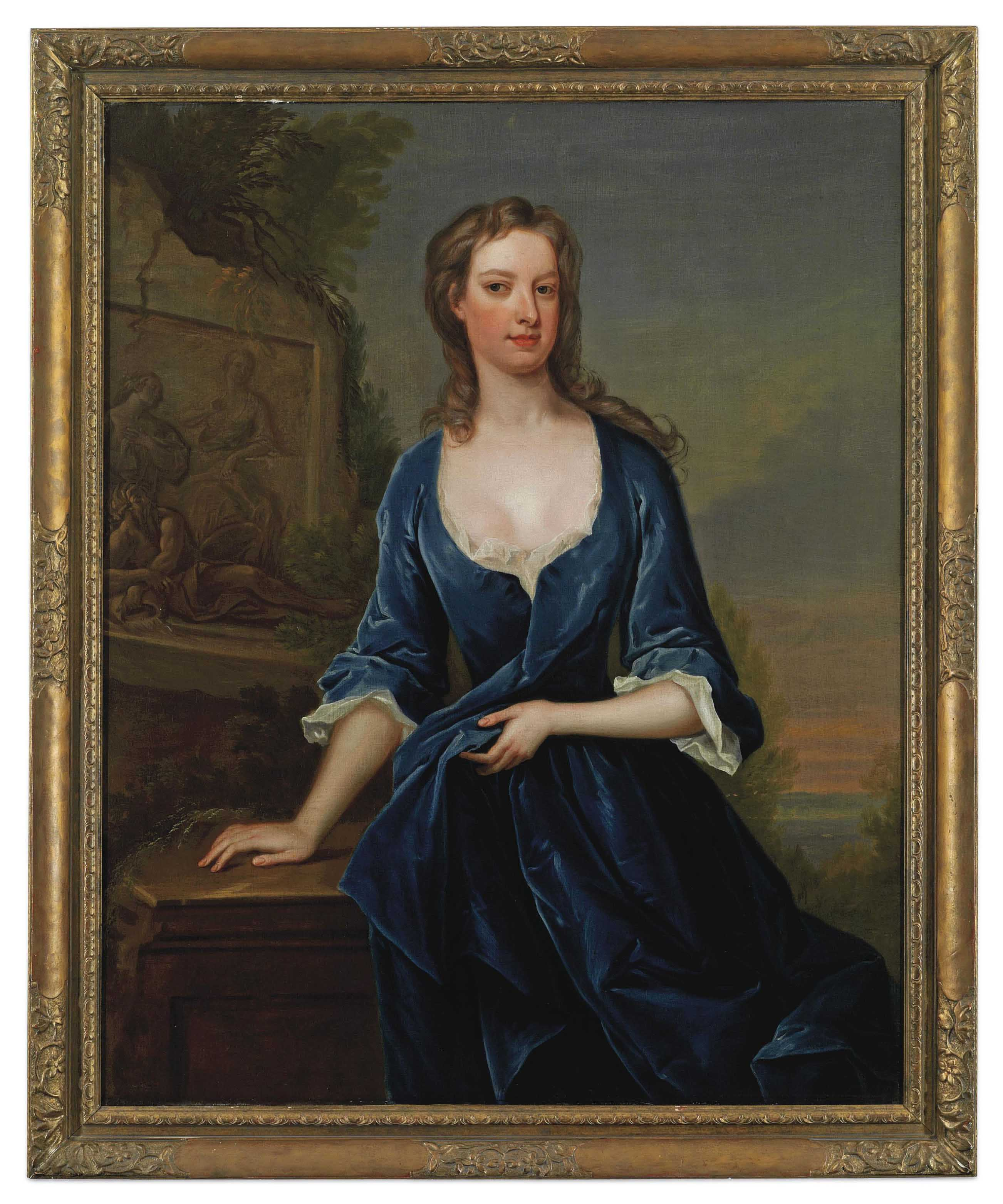 Portrait of a lady, three-quarter-length, in a blue dress beside classical relief, a lake beyond