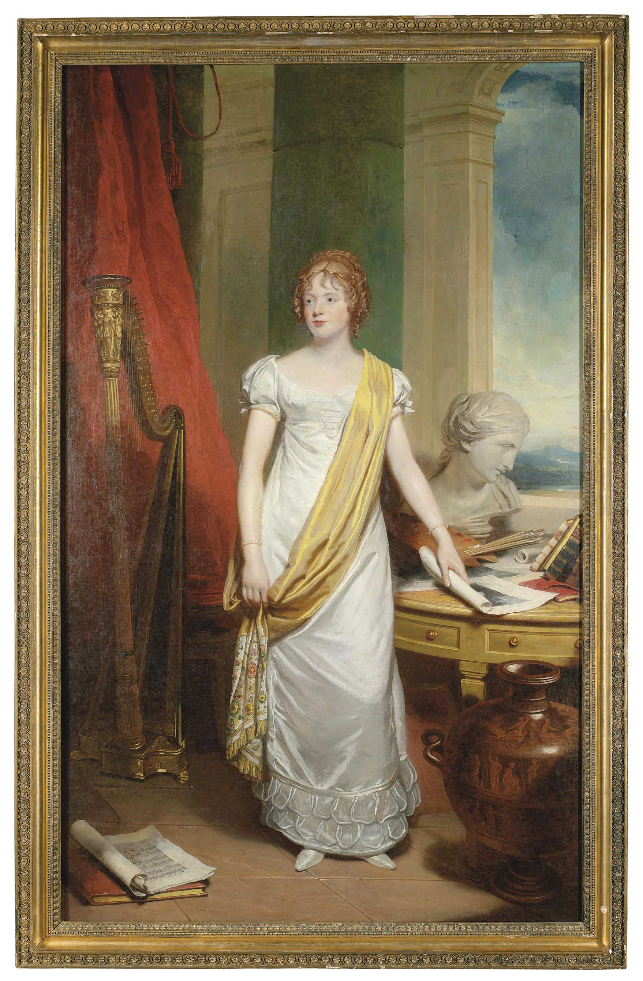 Portrait of a lady, full-length, in a white dress with a yellow silk sash, an artist's palette and neo-classical bust on a table to her left, an Erard harp on her right, and a classical Greek urn to her left and an engraving in her left hand
