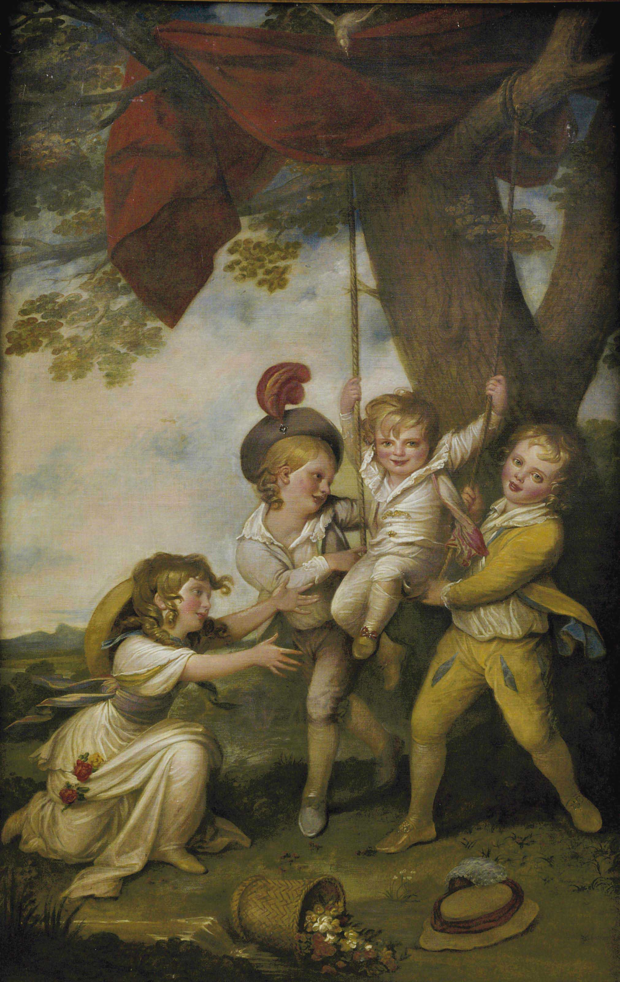 Group portrait of the children of Edmund Boyle, 7th Earl of Cork, playing with a swing