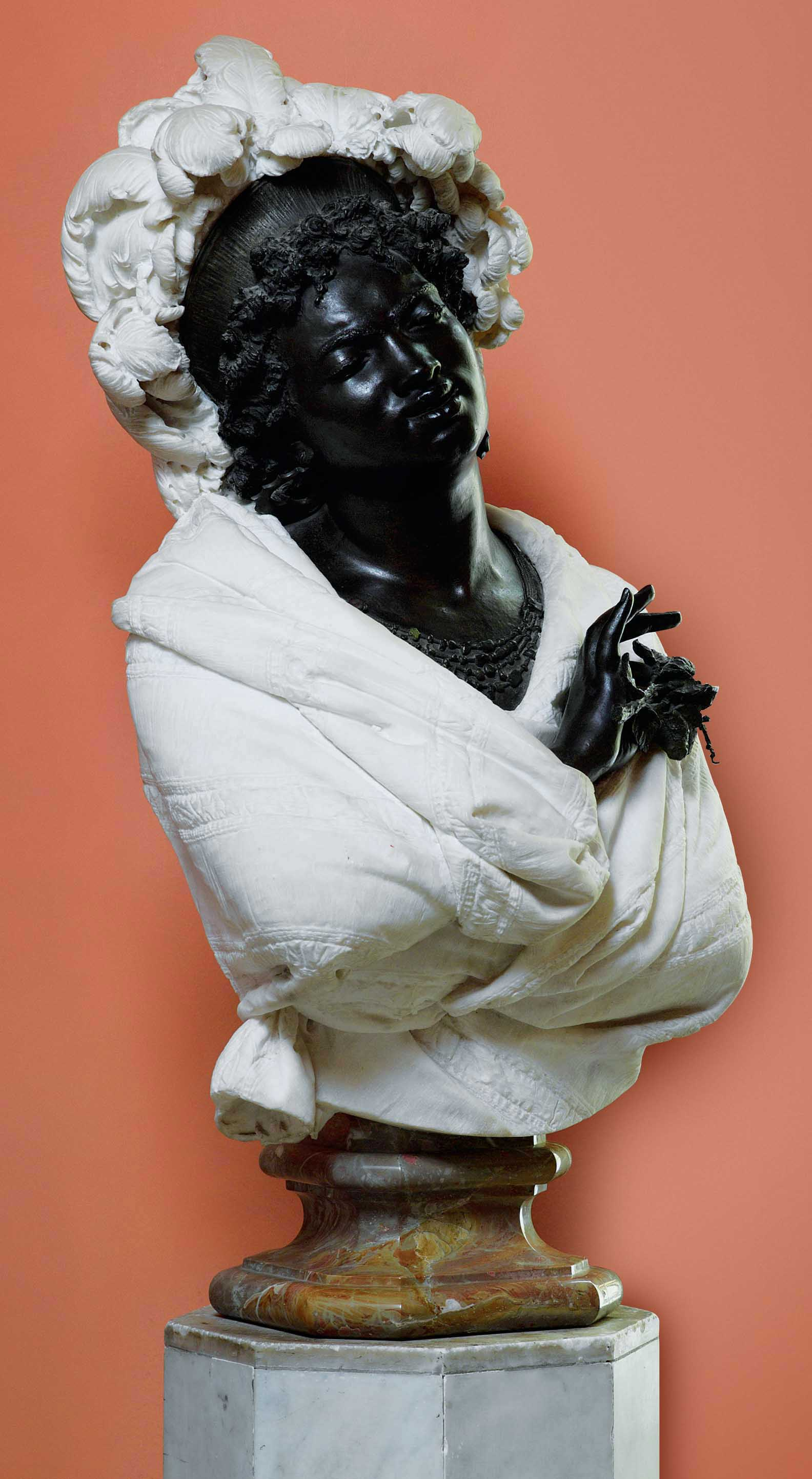 AN ITALIAN LIFE-SIZE MARBLE AND PATINATED BRONZE BUST OF SELIKA