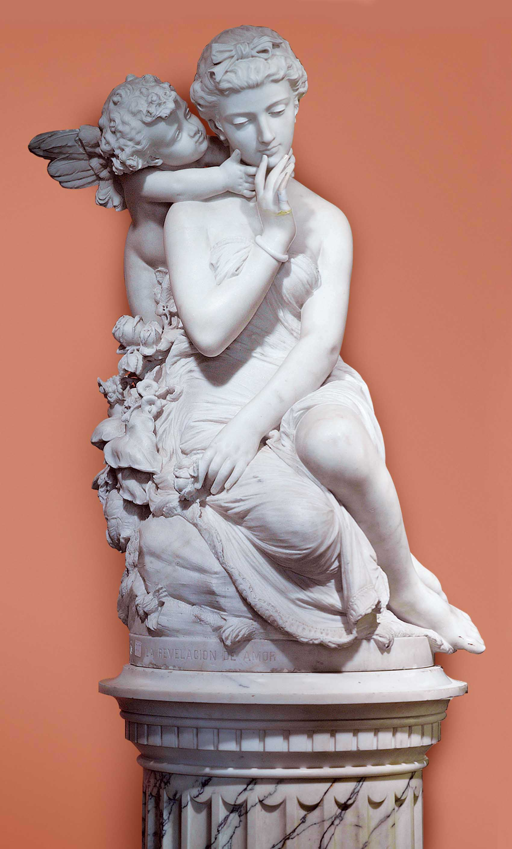 AN ITALIAN MARBLE GROUP OF CUPID AND PSYCHE, ENTITLED 'LA REVELACION DE AMOR' (LOVE AWAKENING), ON PEDESTAL