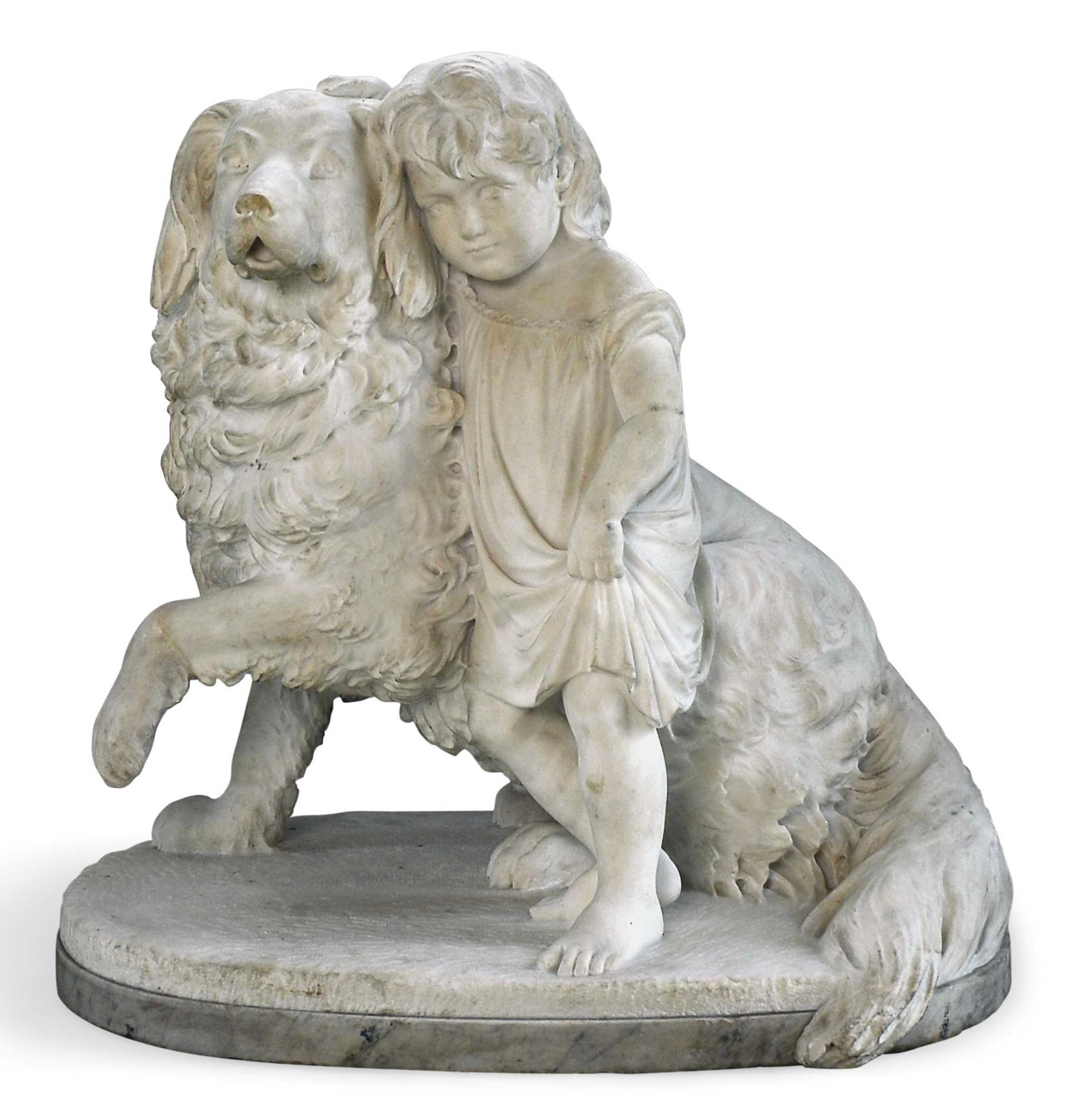 AN ENGLISH MARBLE GROUP OF A YOUNG GIRL WITH A GOLDEN RETRIEVER