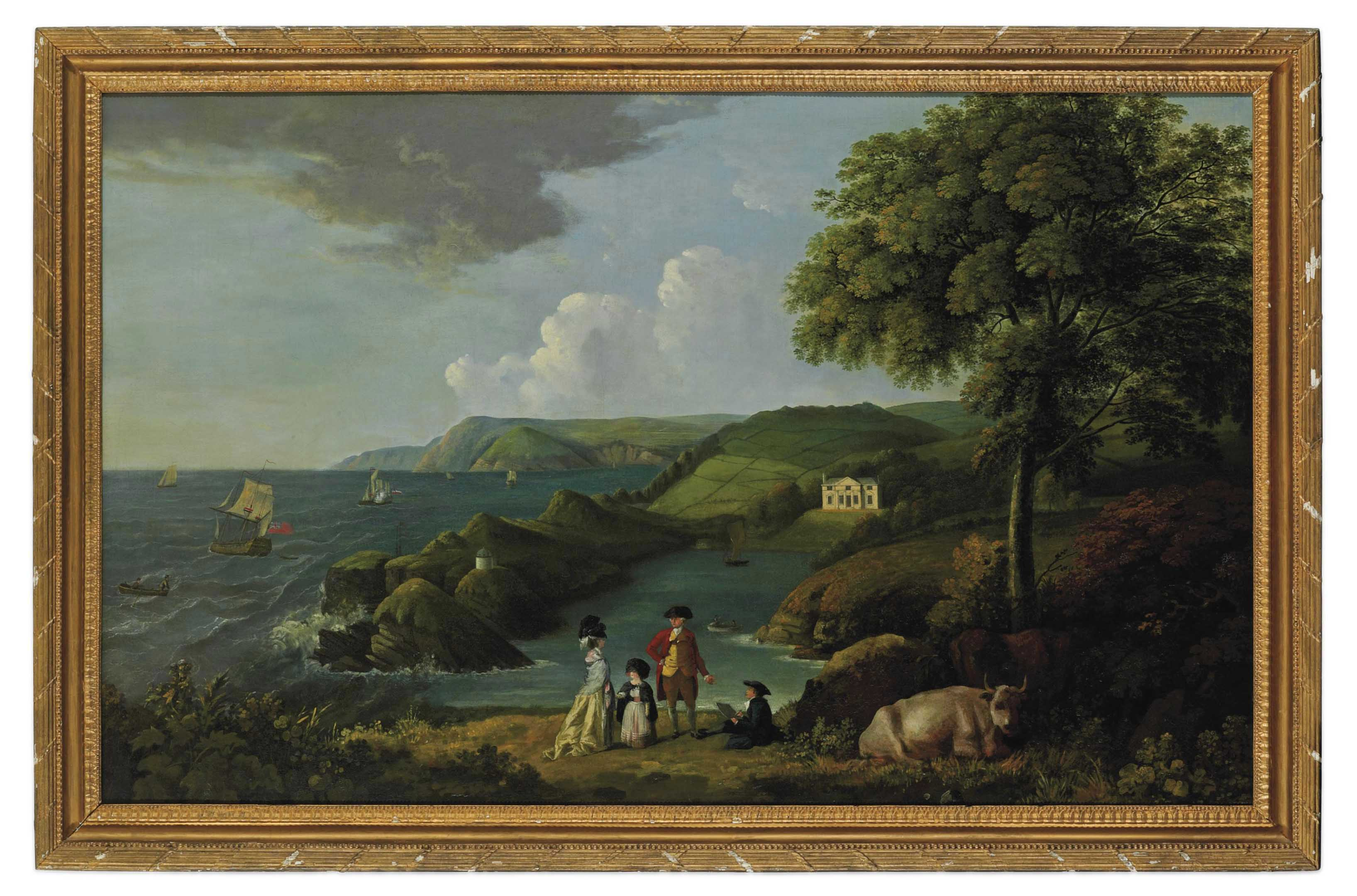 A coastal landscape with a classical house, a couple with a child in the foreground with an artist sketching, shipping at sea