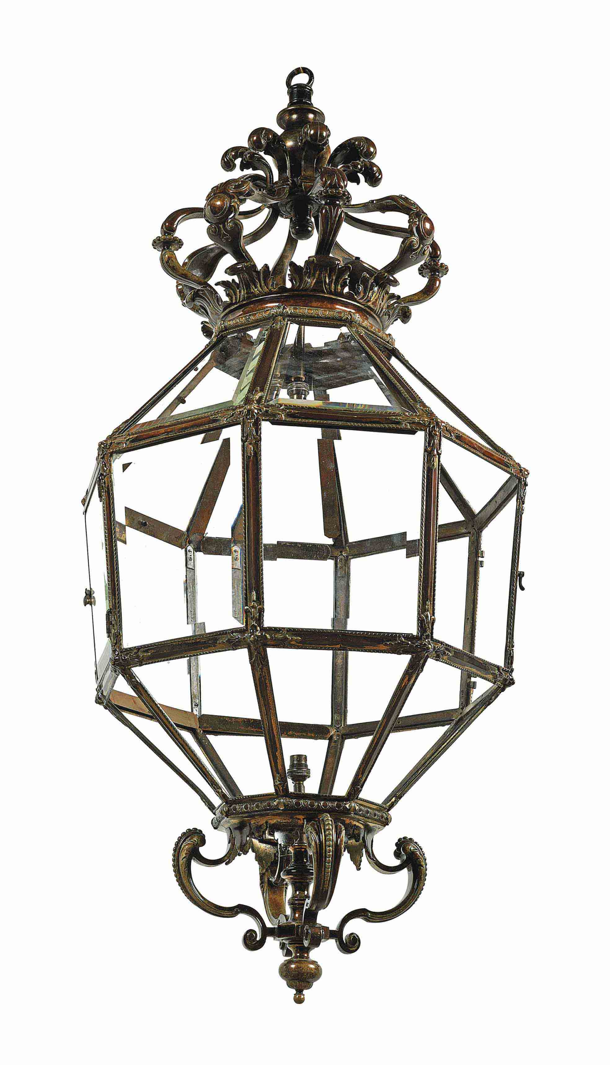 A LARGE LACQUERED BRONZE HANGING LANTERN