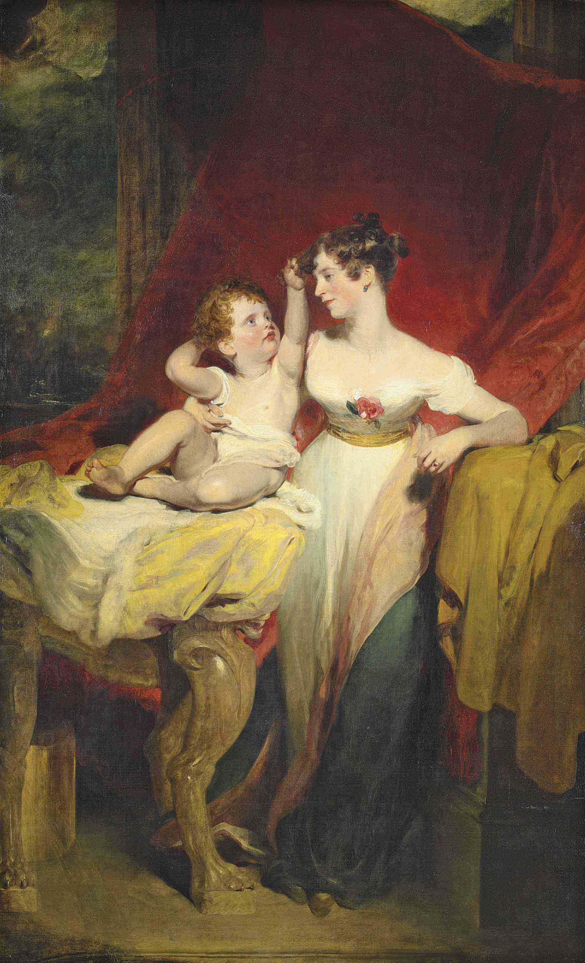Portrait of Anne, Viscountess Pollington, later Countess of Mexborough (d. 1870), with her son, John Charles (1810-99), later 4th Earl of Mexborough, full-length, she in a white dress with a rose at the bodice, with a pink and blue shawl, a draped red curtain beyond