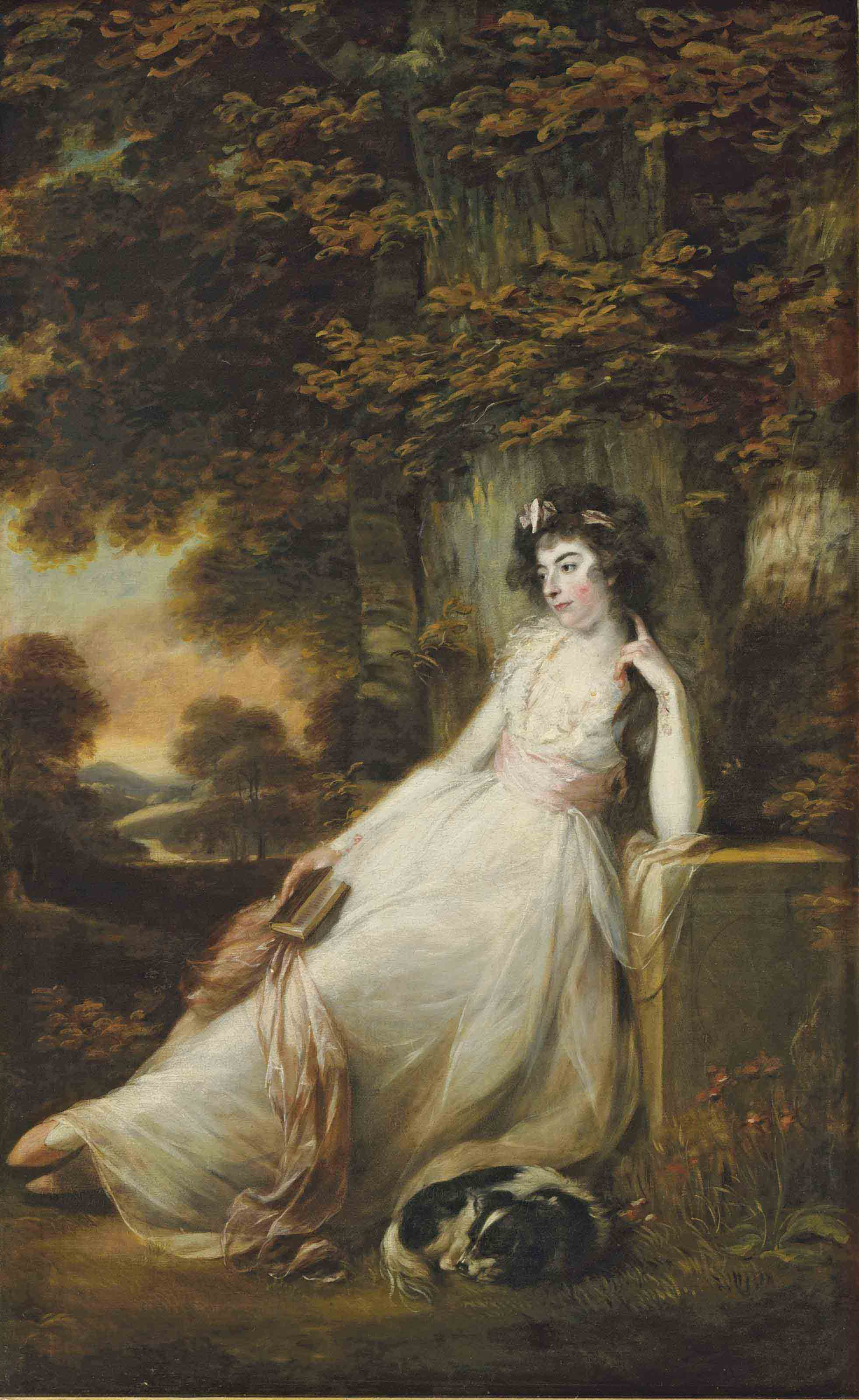 Portrait of Miss S.D. Chambers, full-length, in a white dress, seated with a dog, in a river landscape