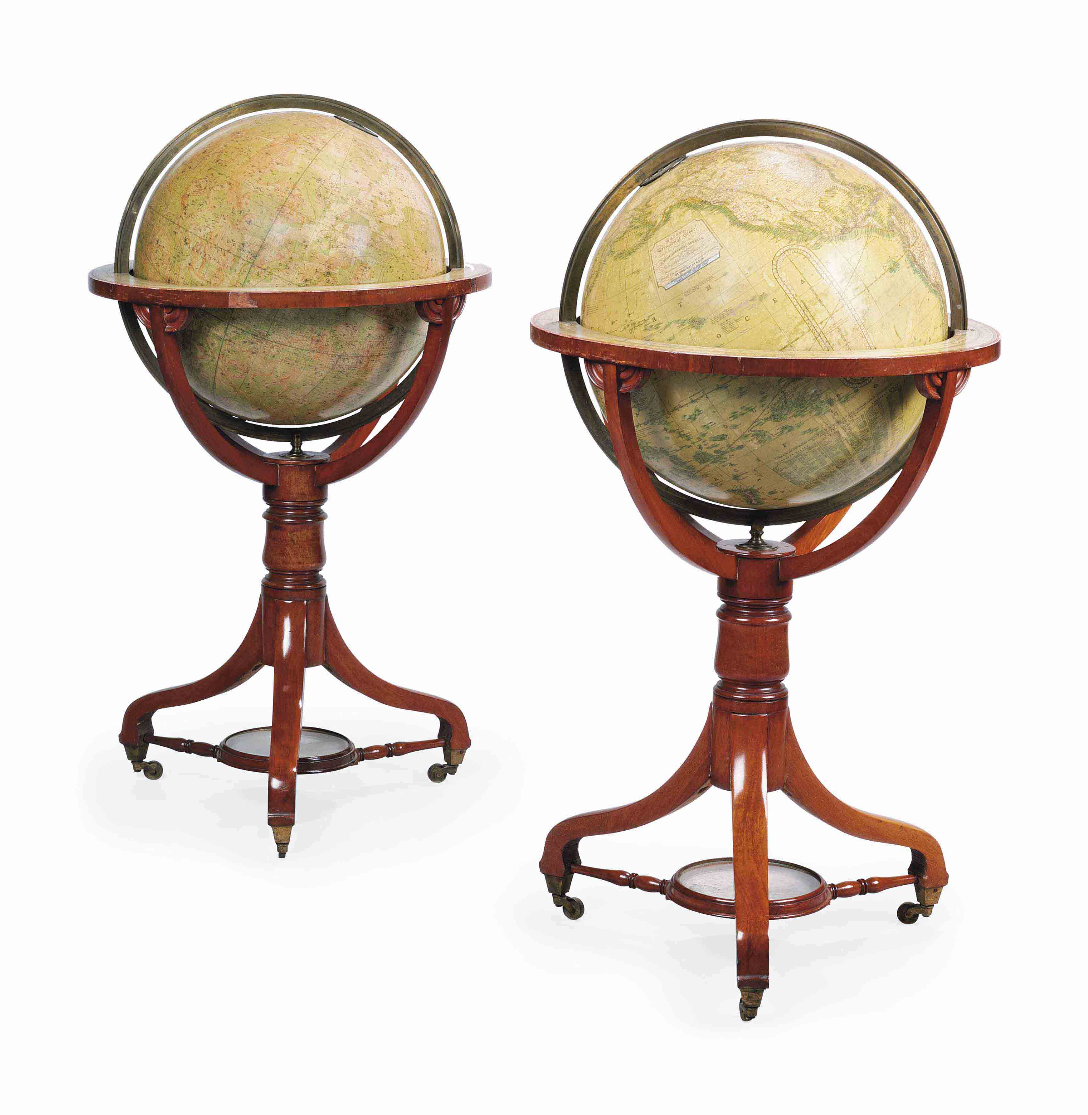 A PAIR OF VICTORIAN TERRESTRIAL AND CELESTIAL 18-INCH LIBRARY GLOBES