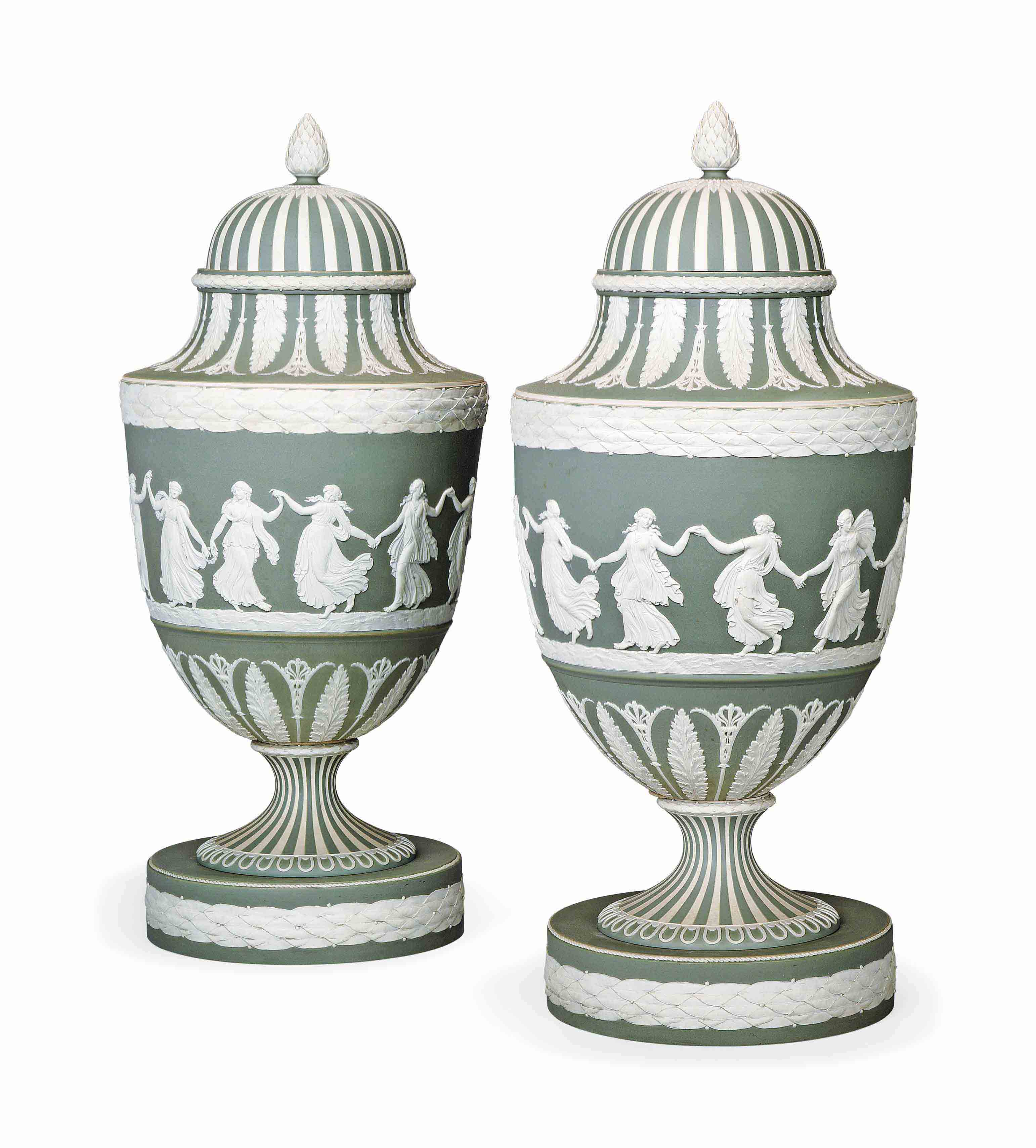 A PAIR OF LARGE WEDGWOOD GREEN JASPERWARE VASES AND COVERS