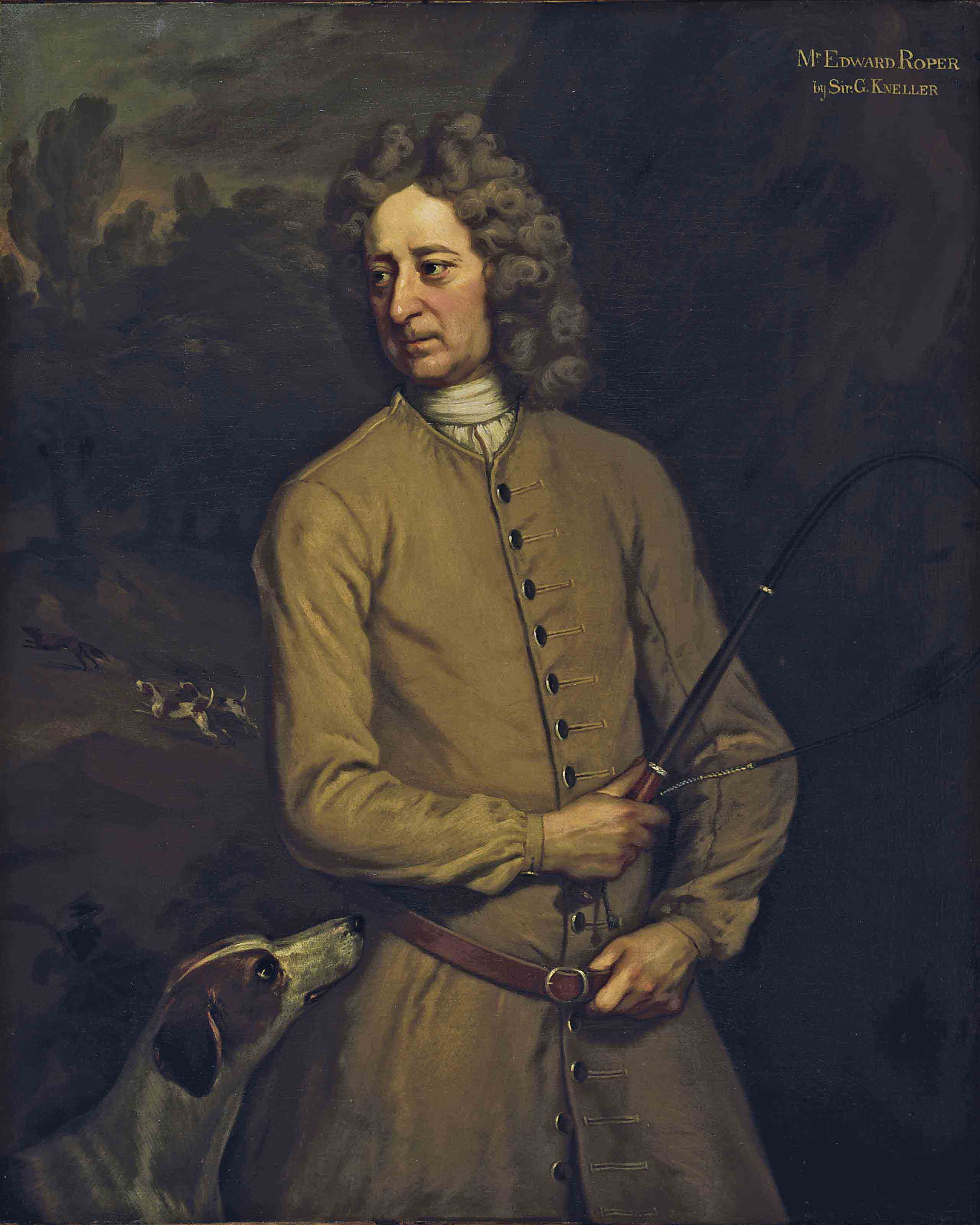 Portrait of Edward Roper, Master of the Charlton Hunt, three-quarter-length, in a buff coat, holding a whip, with a hound at his side and hounds pursuing a fox beyond