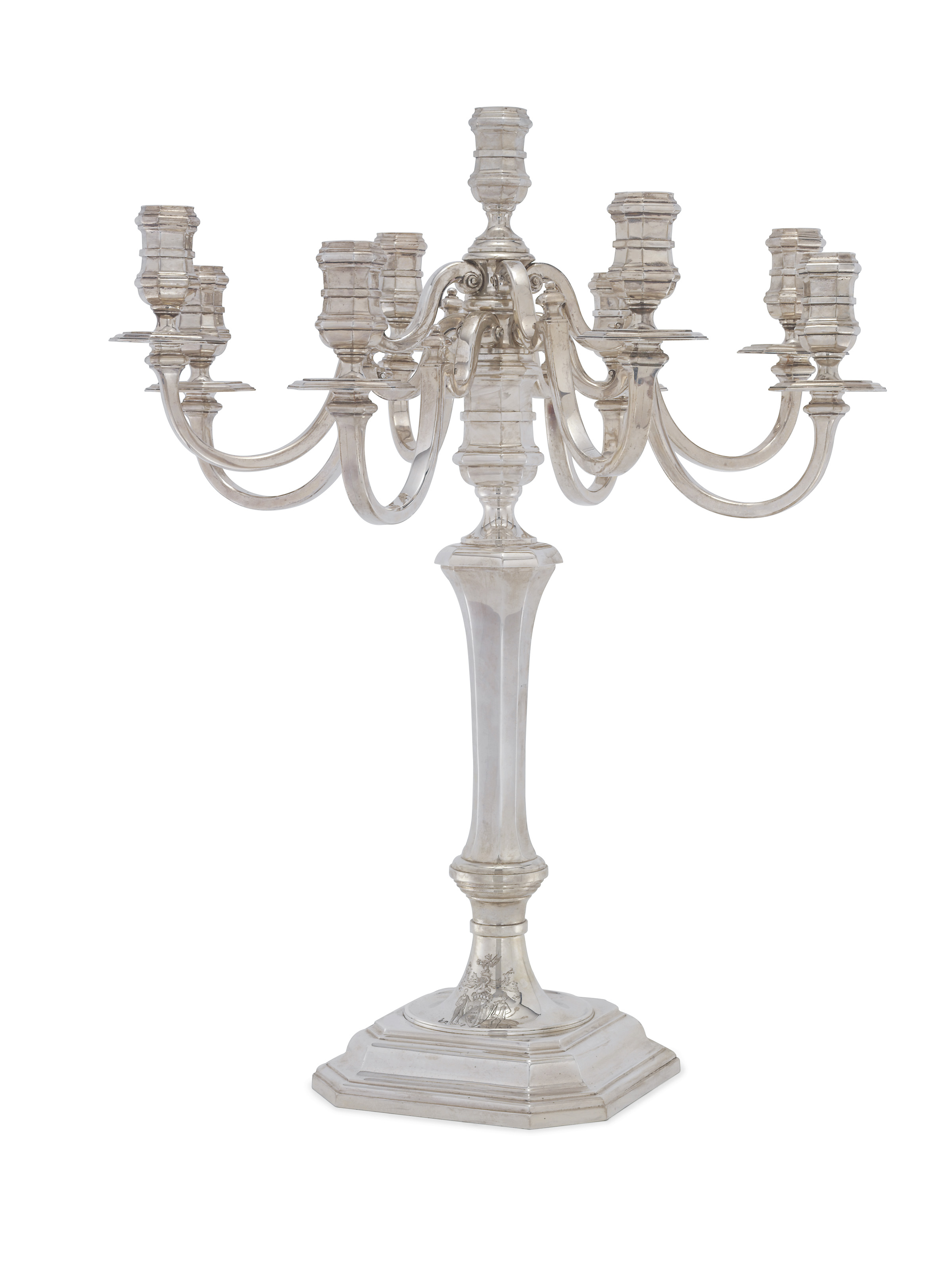 A MASSIVE GEORGE V SILVER NINE-LIGHT CANDELABRUM