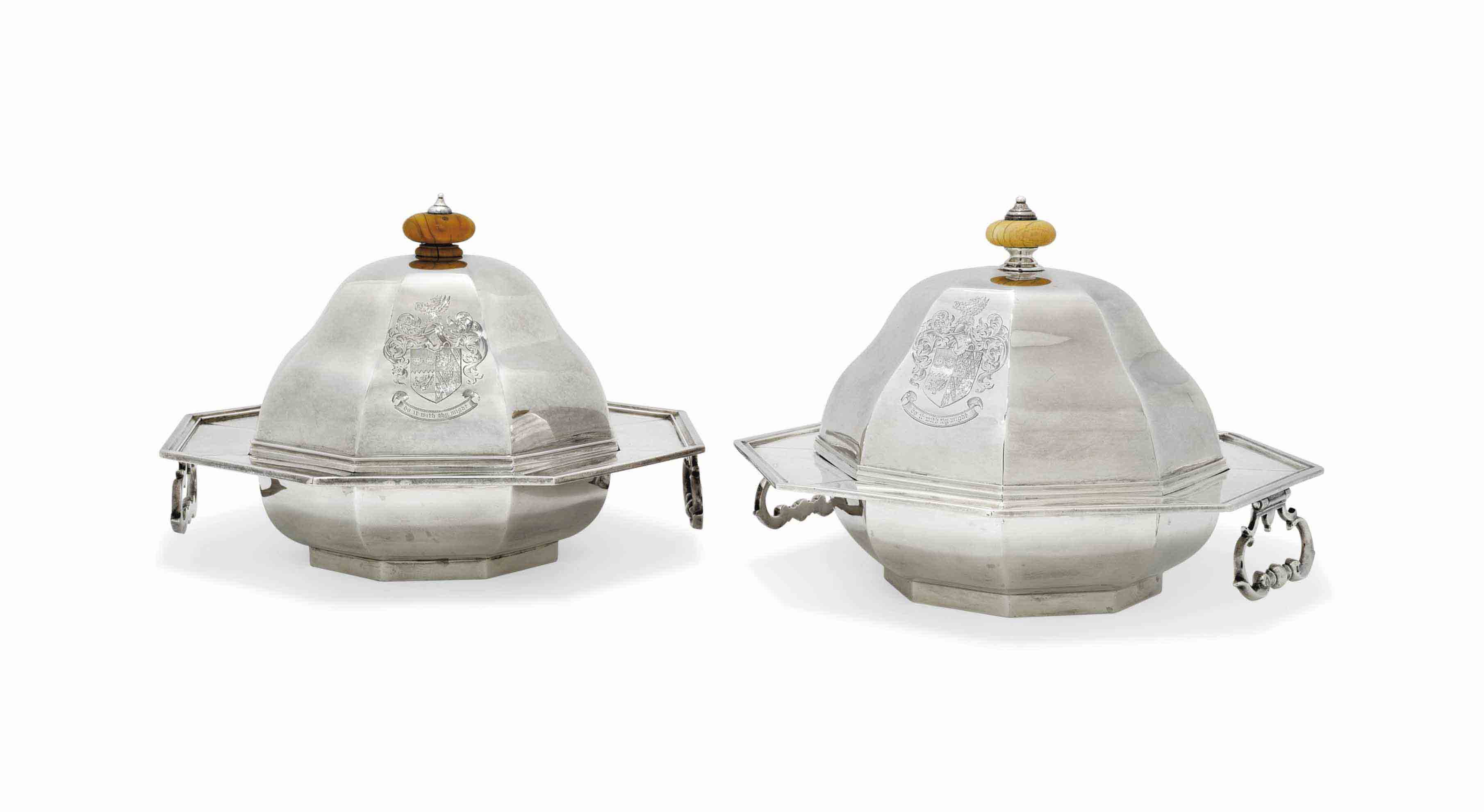 TWO EDWARD VII SILVER MUFFIN-DISHES AND COVERS