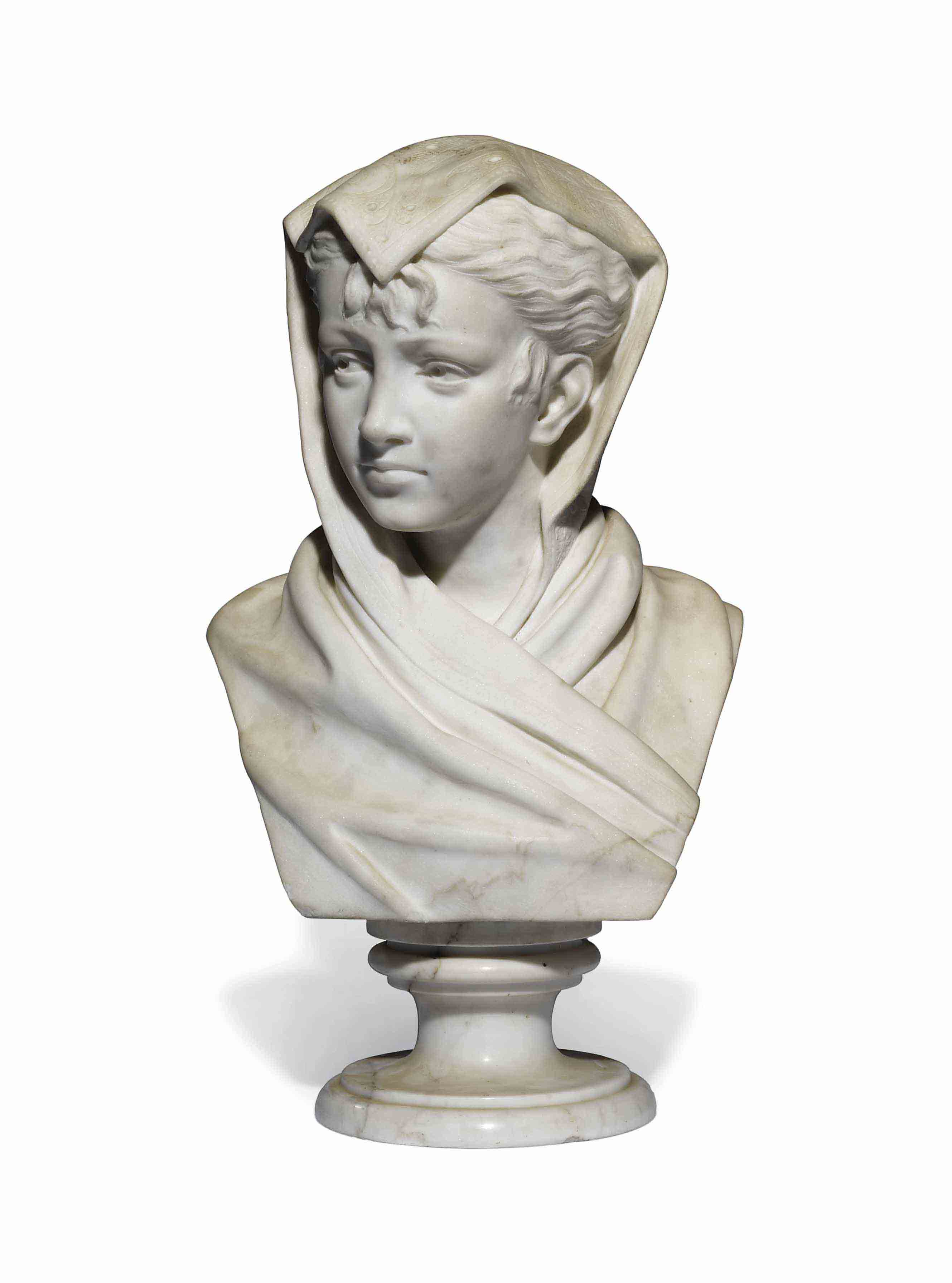 AN ITALIAN WHITE MARBLE BUST OF A YOUNG WOMAN