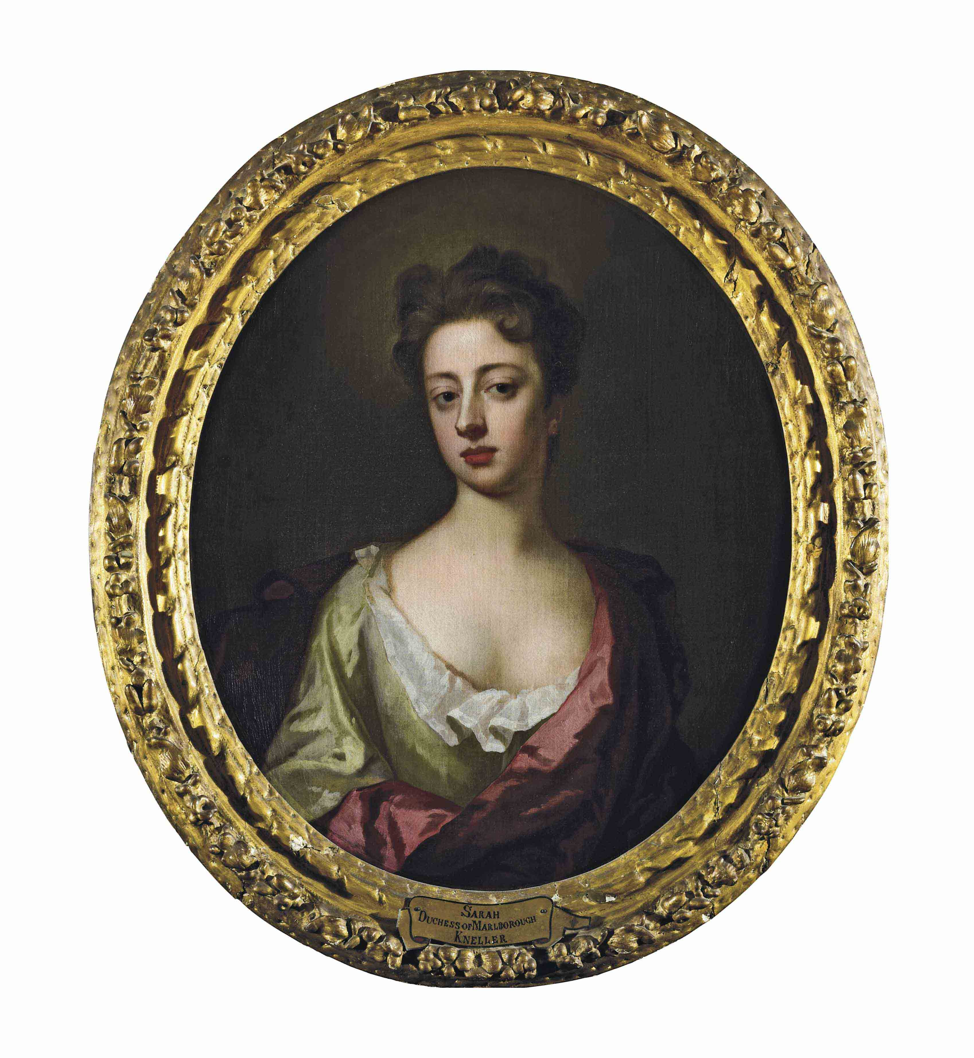Portrait of Sarah, Duchess of Marlborough, half-length, in a green dress and a pink mantle