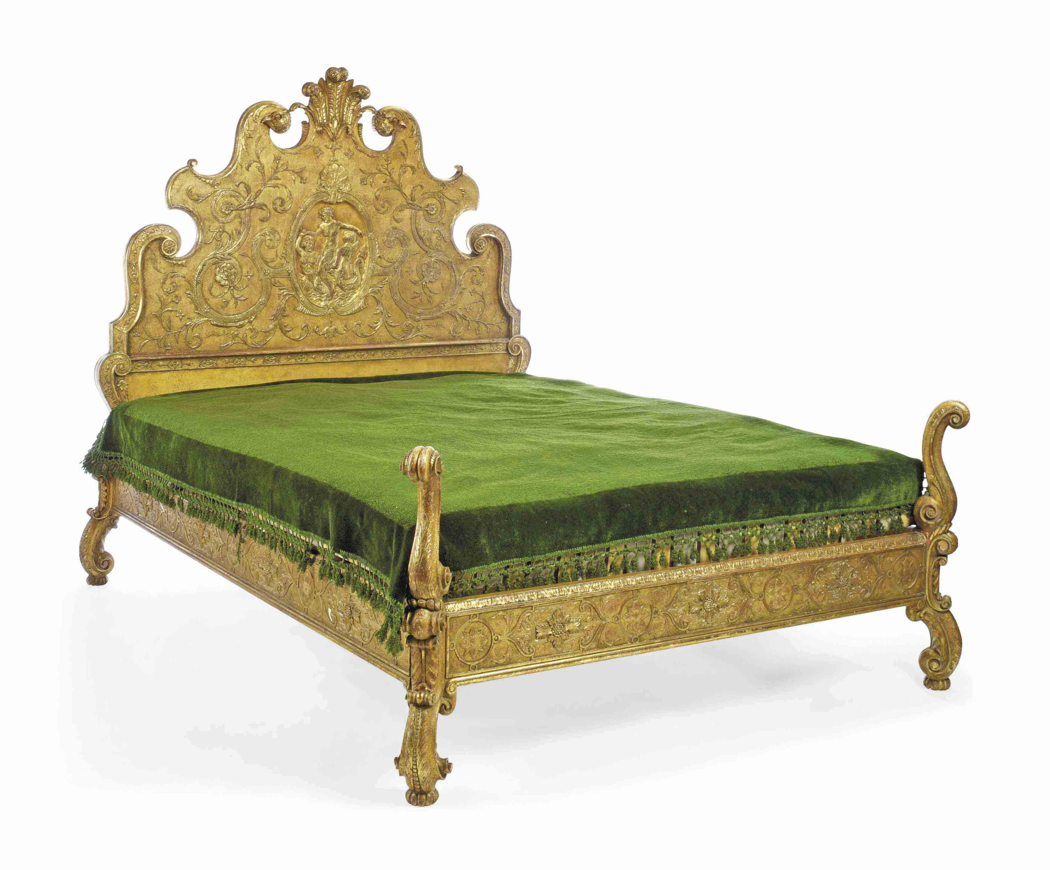 A GEORGE I STYLE GILTWOOD AND GESSO BED