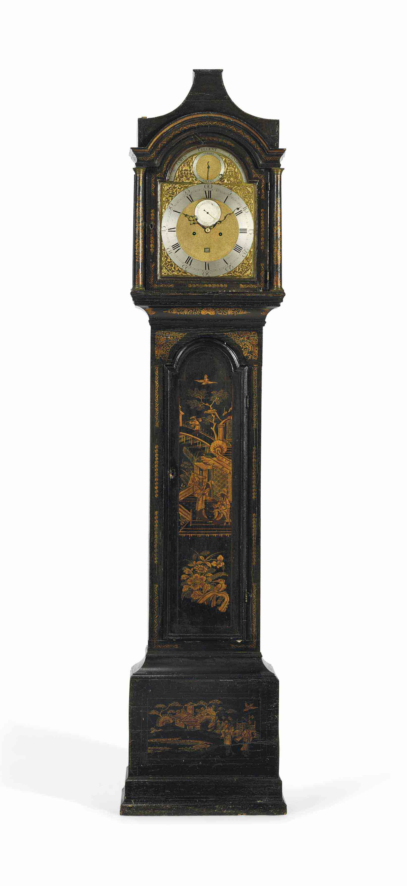 A GEORGE III BLACK AND GILT JAPANNED EIGHT DAY LONGCASE CLOCK