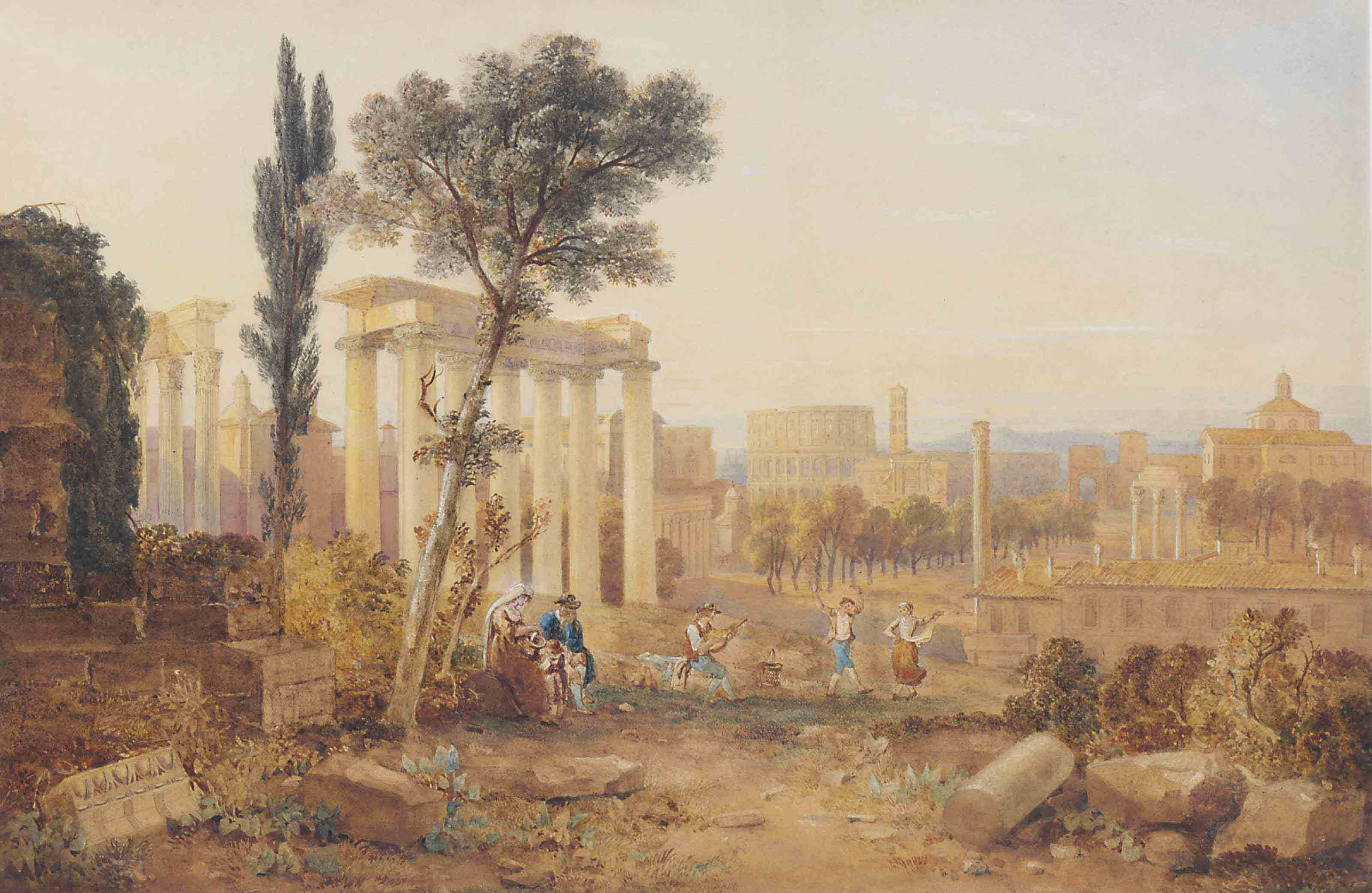 The Forum, Rome, with Italian peasants dancing in the foreground