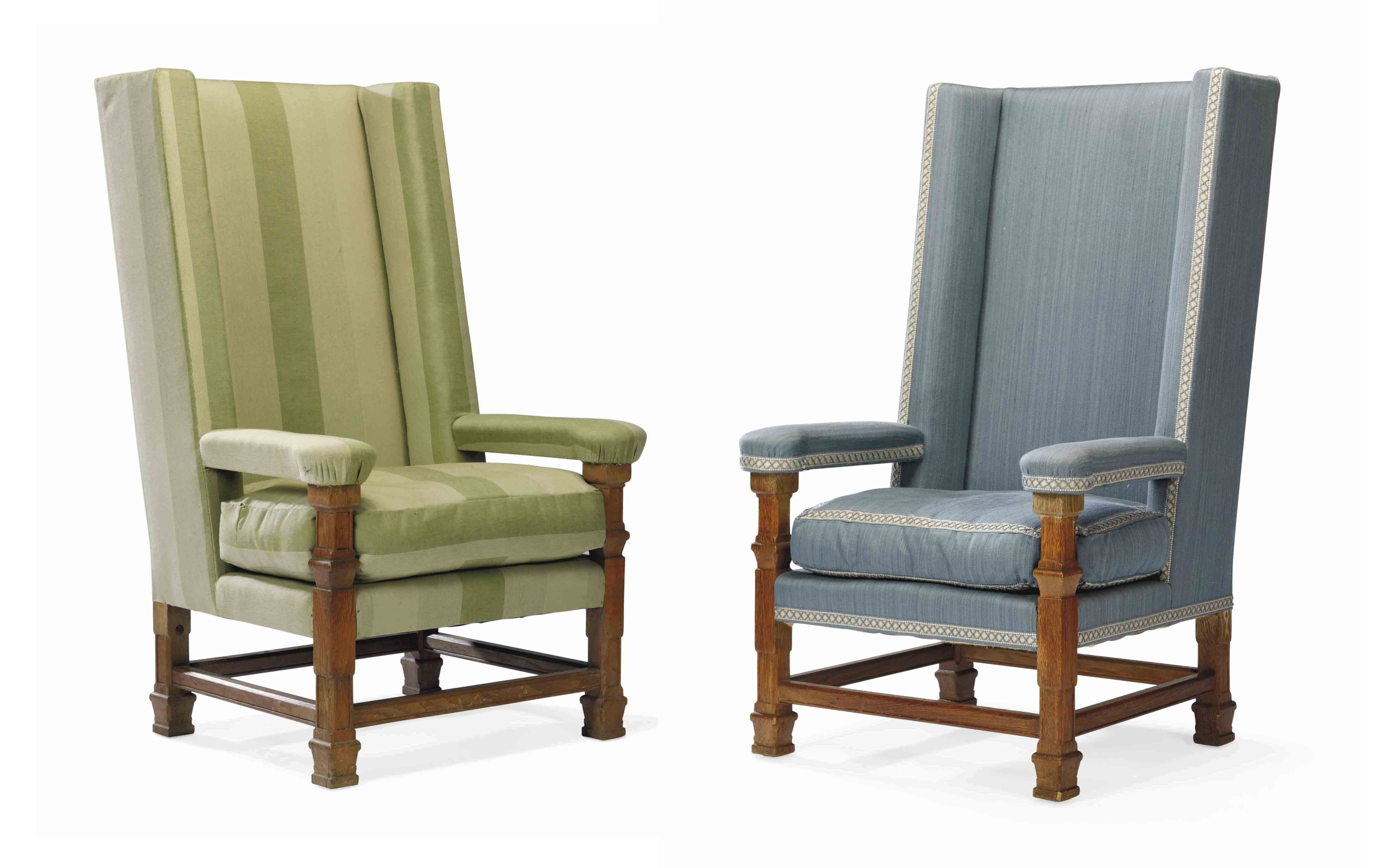 A PAIR OF ENGLISH OAK HIGH-BACKED ARMCHAIRS
