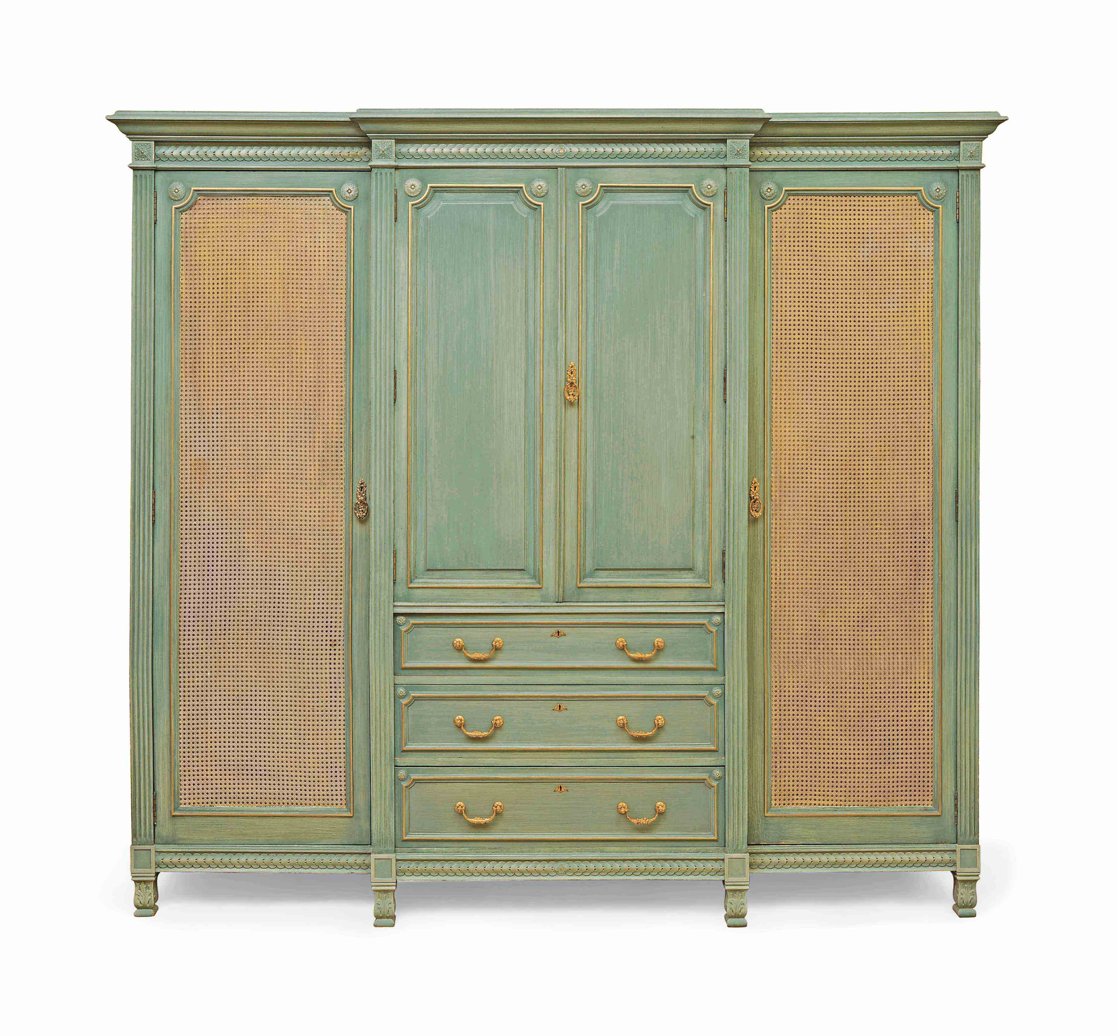 A GREEN-PAINTED AND PARCEL-GILT WARDROBE
