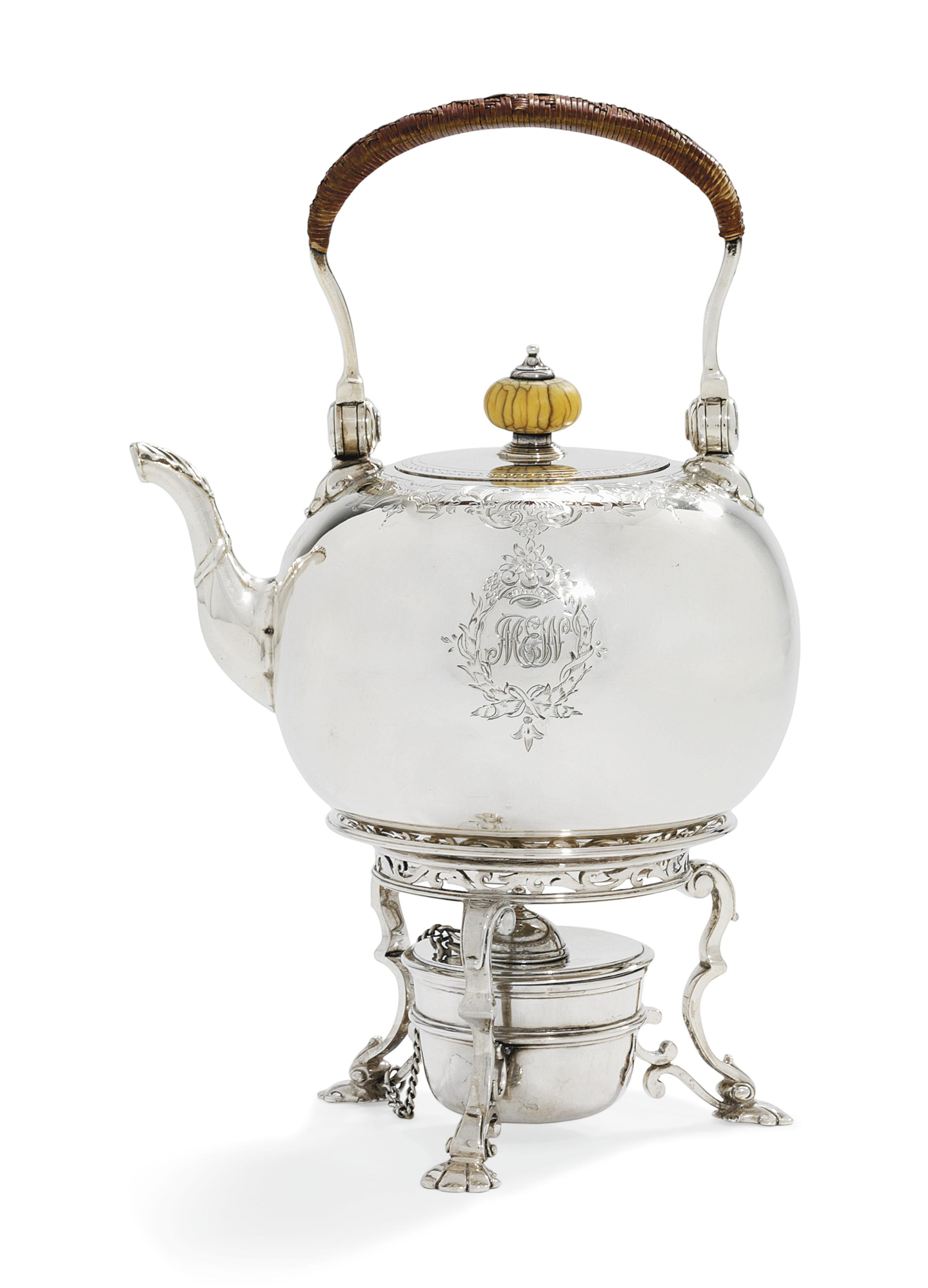 A VICTORIAN SILVER KETTLE, STAND AND LAMP