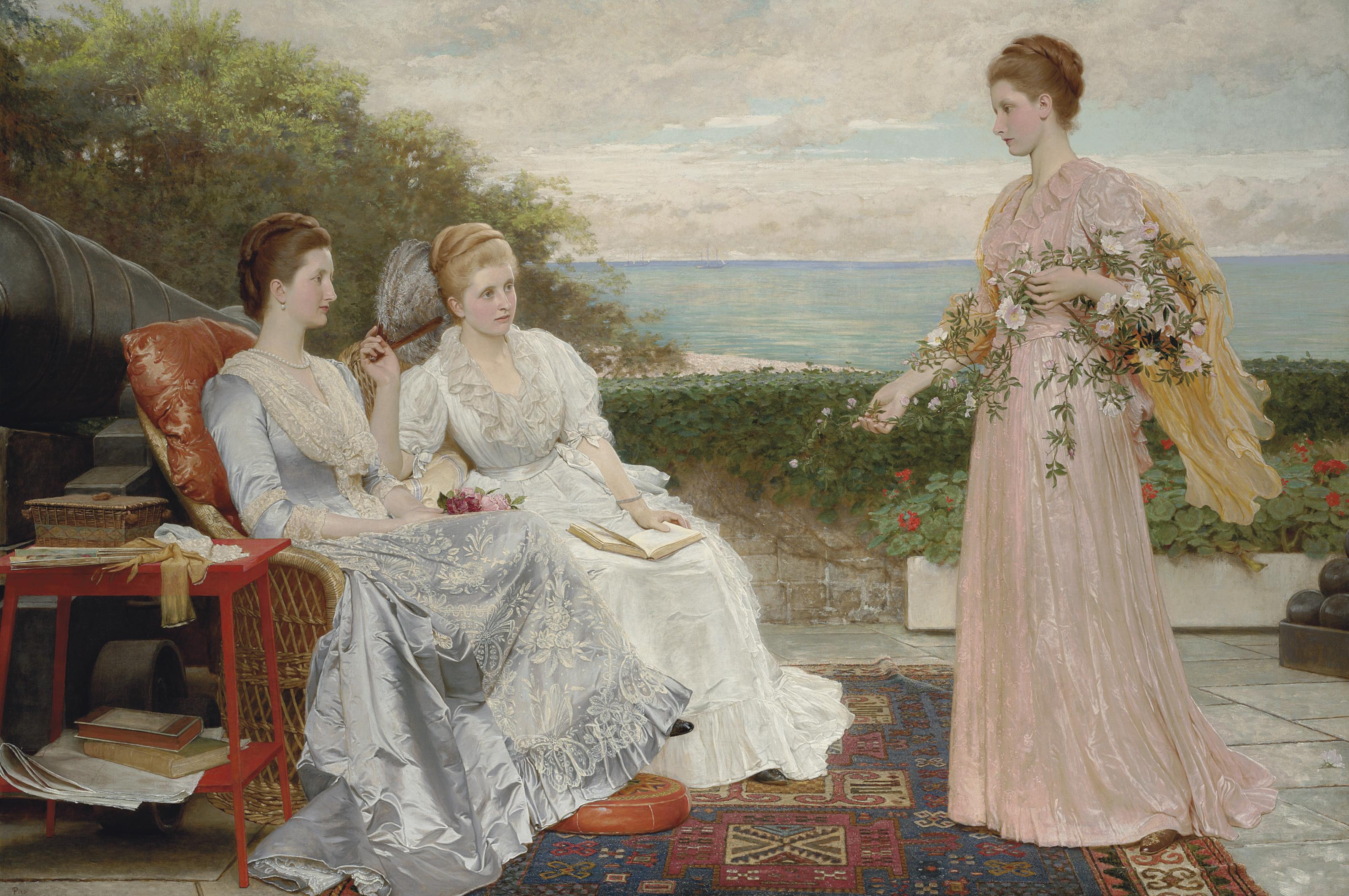 The Ramparts, Walmer Castle; Portraits of the Countess Granville, and the Ladies Victoria and Mary Leveson-Gower