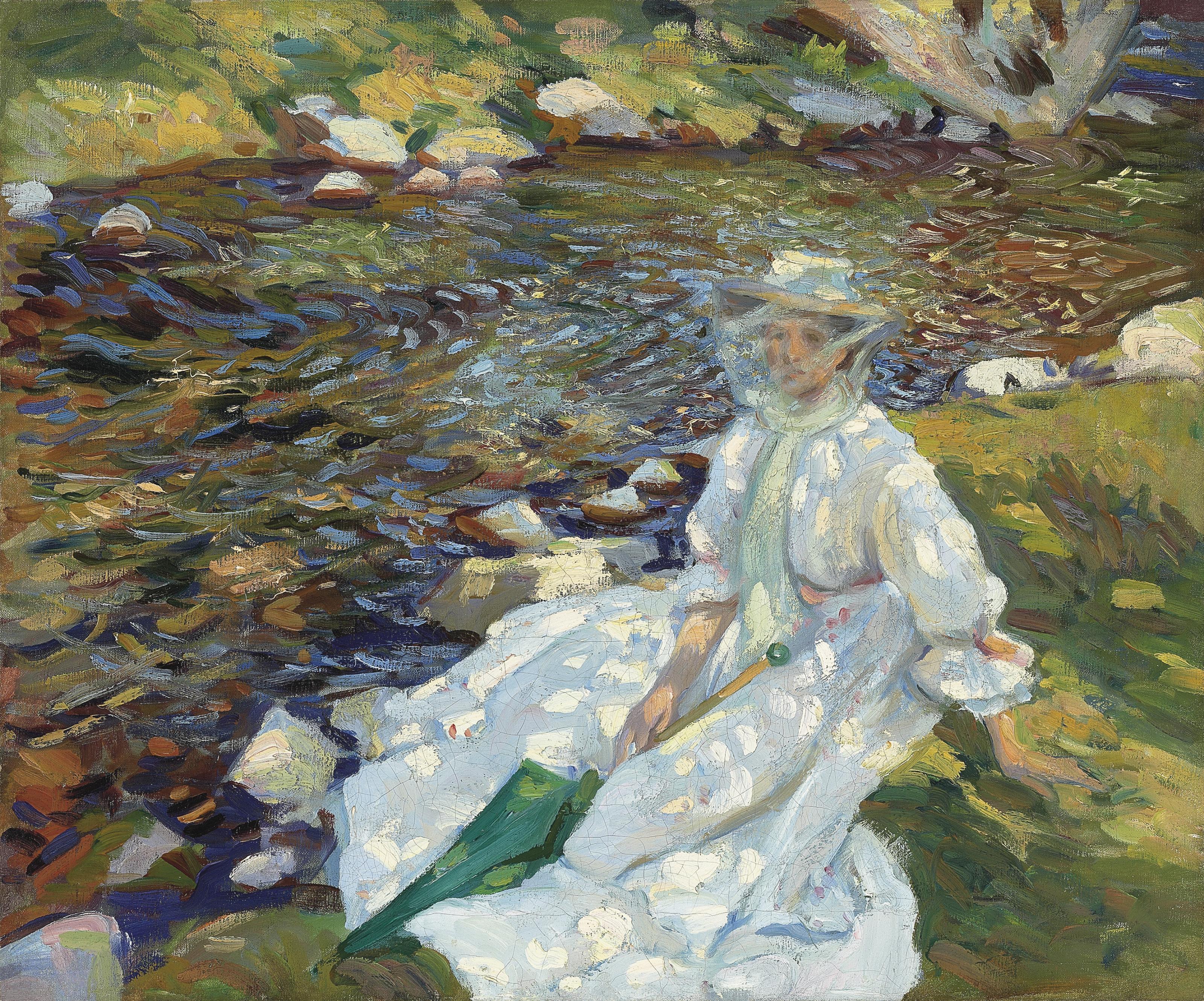 Jane Emmet de Glehn by a stream, Val d'Aosta