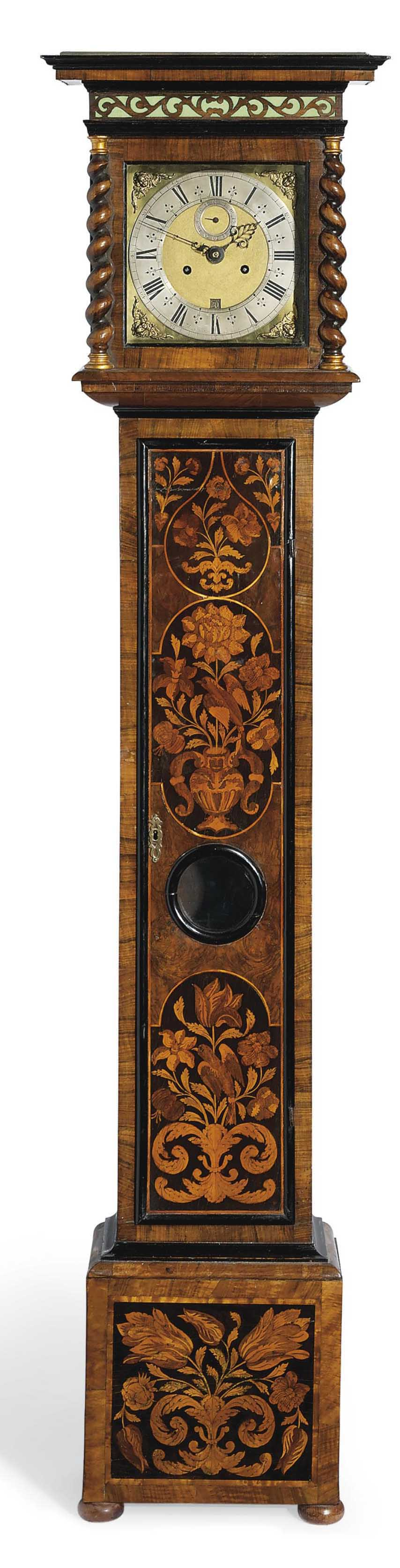 A WILLIAM AND MARY WALNUT AND FLORAL MARQUETRY EIGHT DAY LONGCASE CLOCK