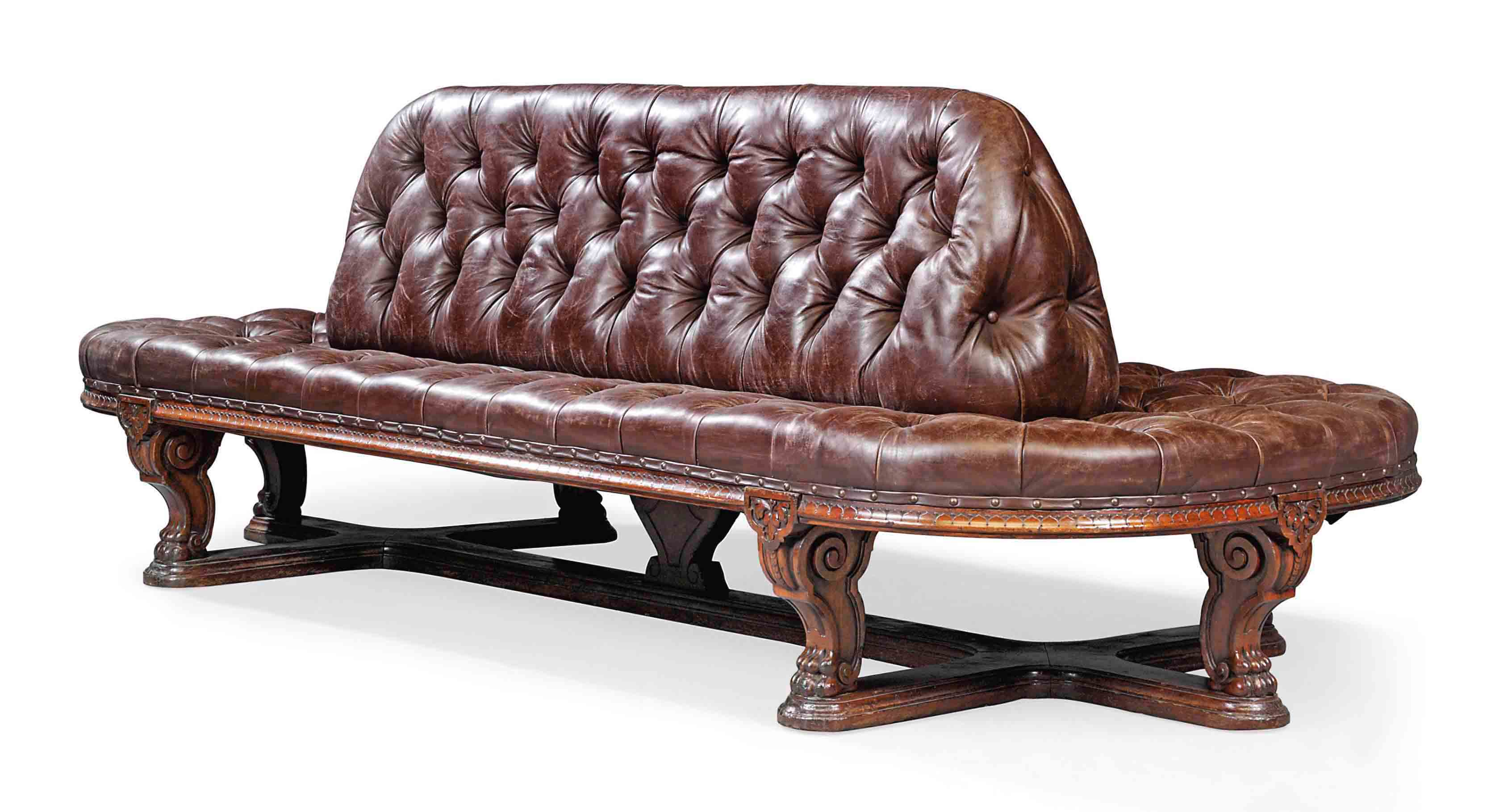 A LARGE EARLY VICTORIAN WALNUT GALLERY CENTRE SEAT