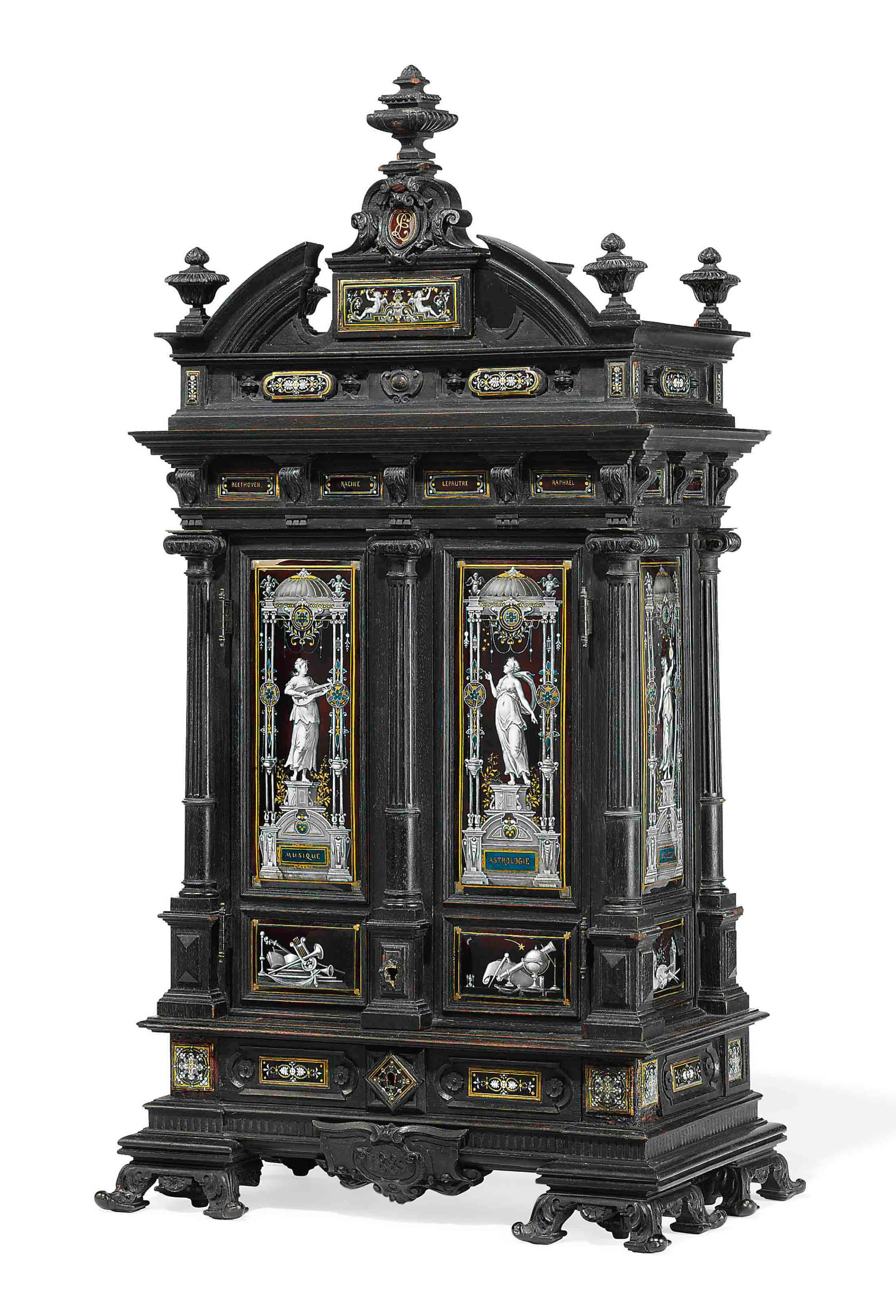 a french enamel mounted ebony cabinet by j tignat paris dated 1889 christie 39 s. Black Bedroom Furniture Sets. Home Design Ideas
