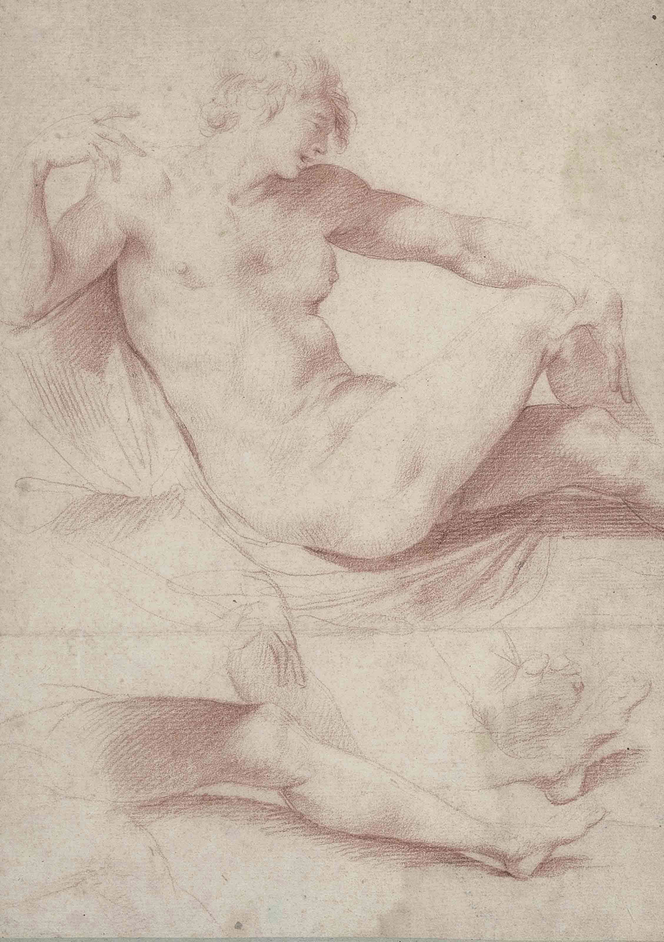 A reclining male nude, with subsidiary studies of legs and feet