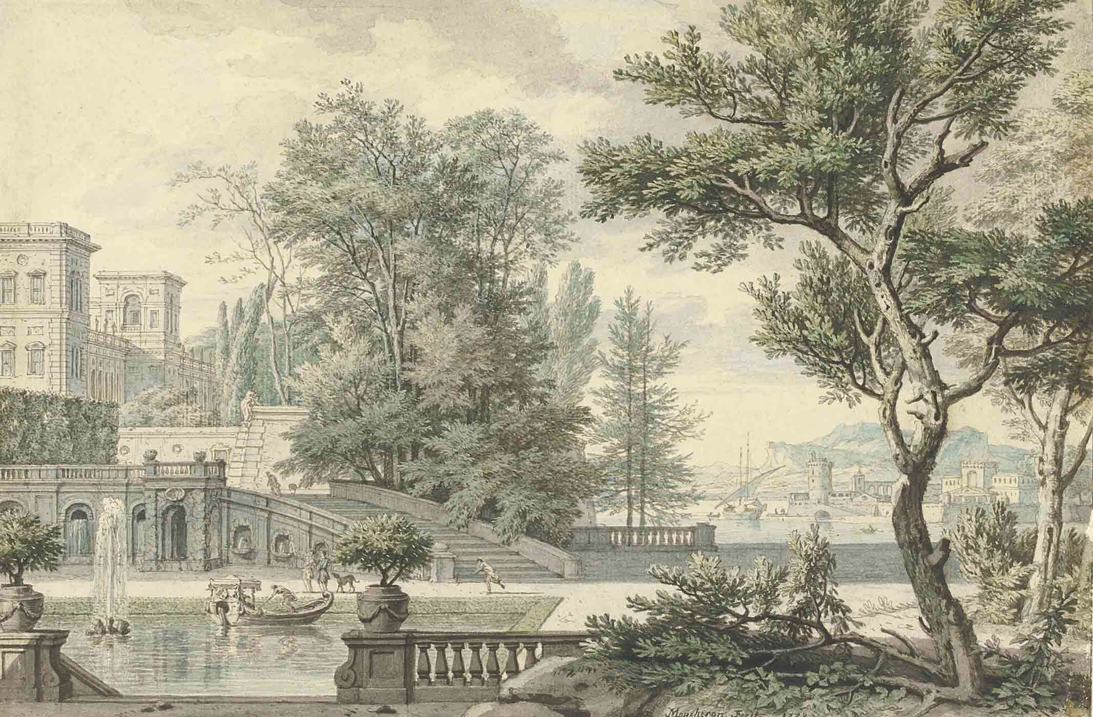 View of an Italianate villa and its garden, a bay beyond