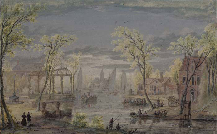 A river landscape near Amsterdam with an elegant house and gardens on the left