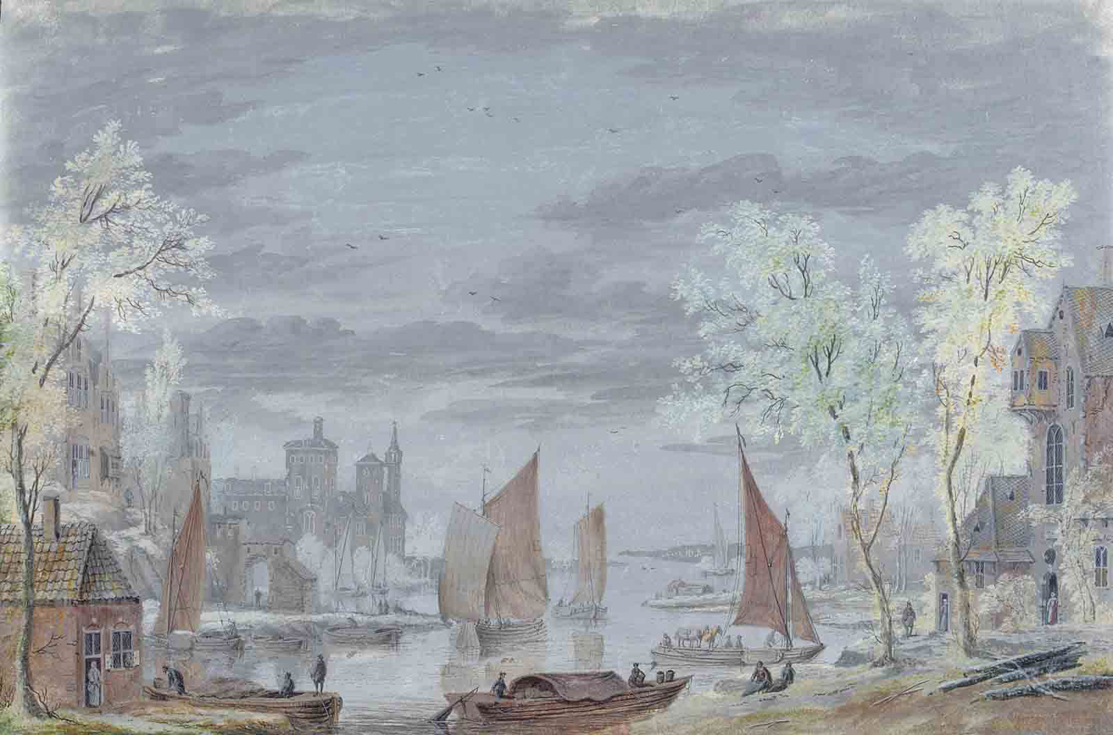 View of shipping on a river, a castle beyond