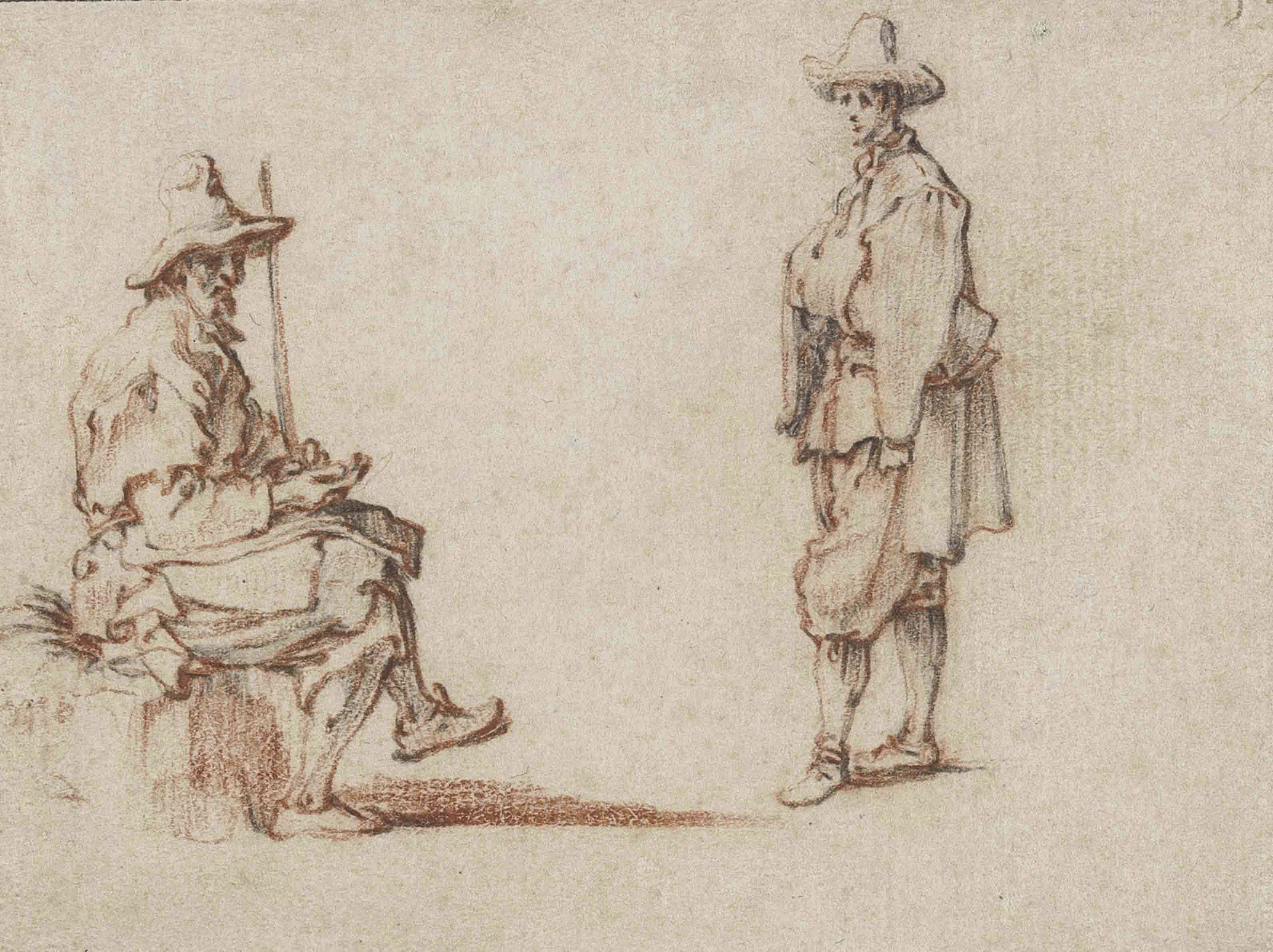 Studies of two men in contemporary costume, one seated with a staff, the other standing, turned to the left