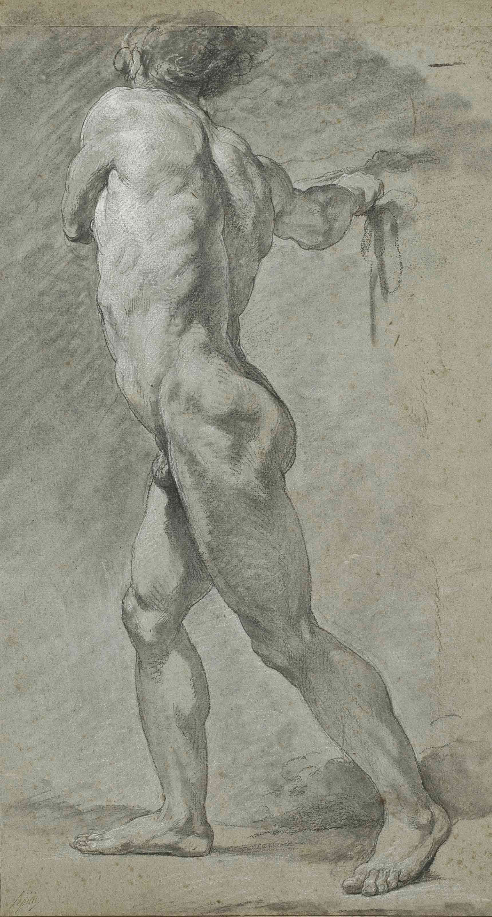 A standing male nude, seen in profile, turned to the right