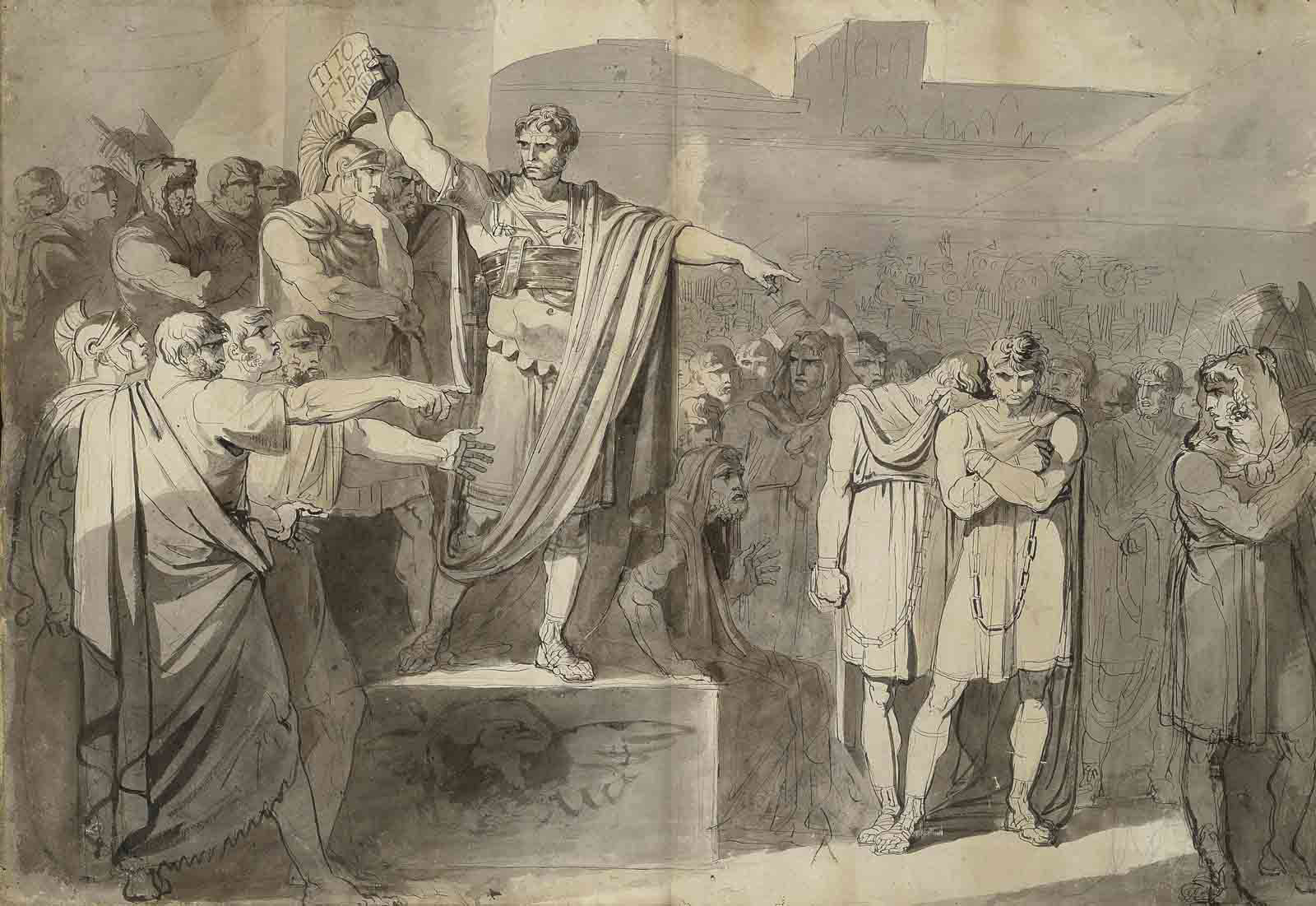 Lucius Junius Brutus condemning to death his sons Titus and Tiberius (recto); A compositional study of the same subject (verso)