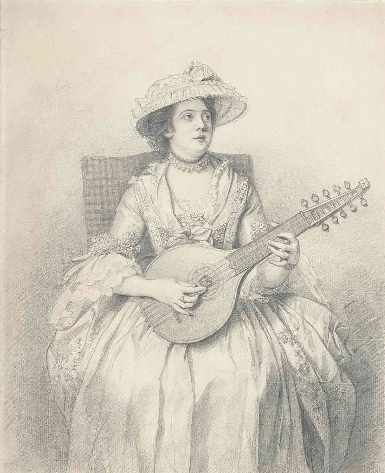 An elegant lady, seated, playing a cittern, looking upwards