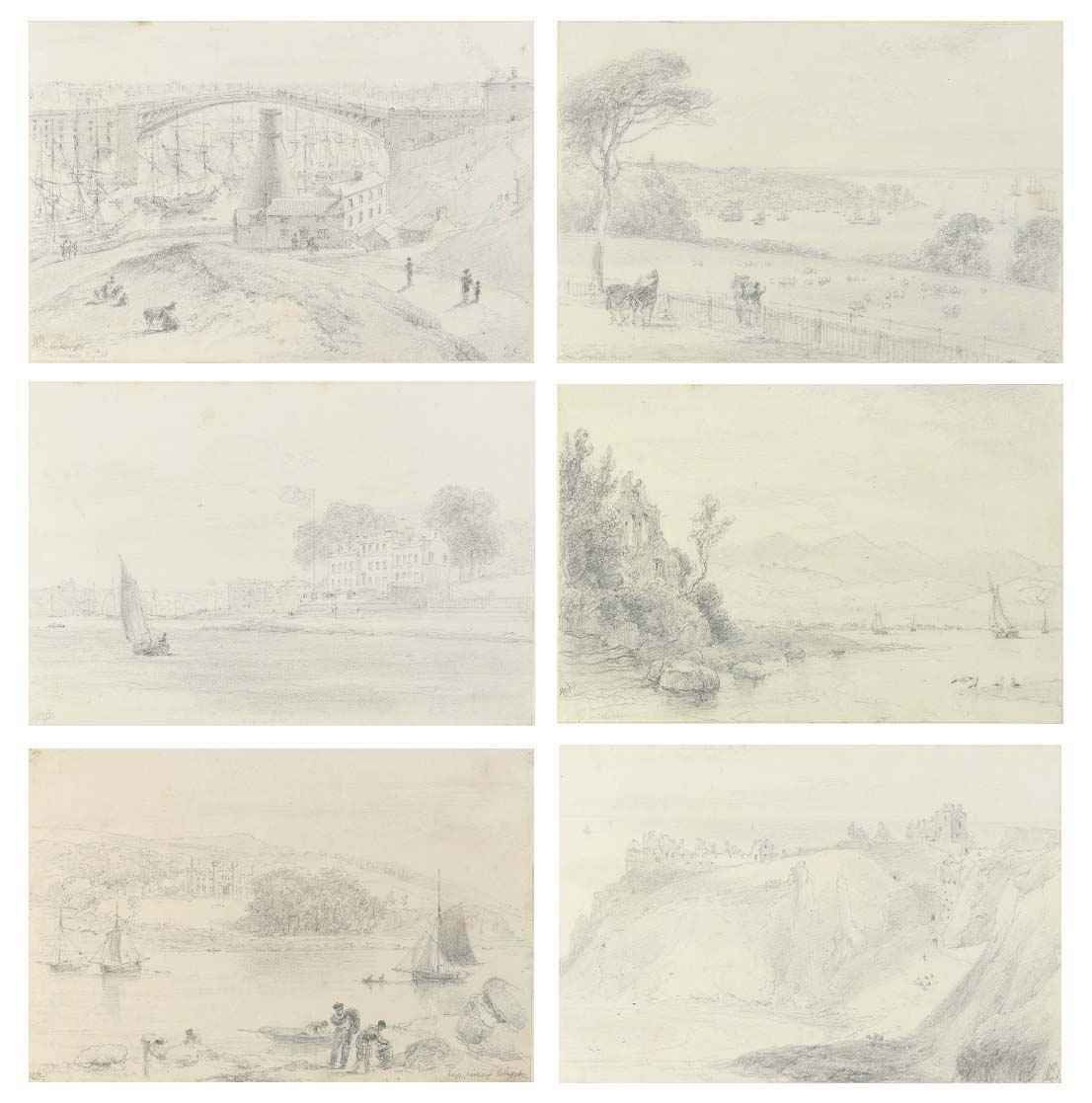 An album of ninety-seven drawings including views of Dunstanborough Castle, Northumberland; the bridge across the River Tyne, Sunderland (fig. 1); Eastbourne, Sussex; Hurst Castle, West Cowes (figs. 2 and 3) and near Blackwater, the Isle of Wight; Lyme Regis and Bow and Arrow Castle, Dorset; Woodville, Devon; Falmouth and Tregothan, Cornwall; Dunster Castle (fig. 5), Minehead and the Valley of Stones, Somerset; Cader Idris, Beaumaris, Flint Castle and Tan-y-bwlch, Wales; Silverdale and Chapel Island, Lancashire (fig. 4); and Ravenscraig Castle, Armadale Castle (fig. 6), the Shiant Isles, Forse Castle, the Man of Ord, Dunnottar Castle, and Slane Castle, Scotland