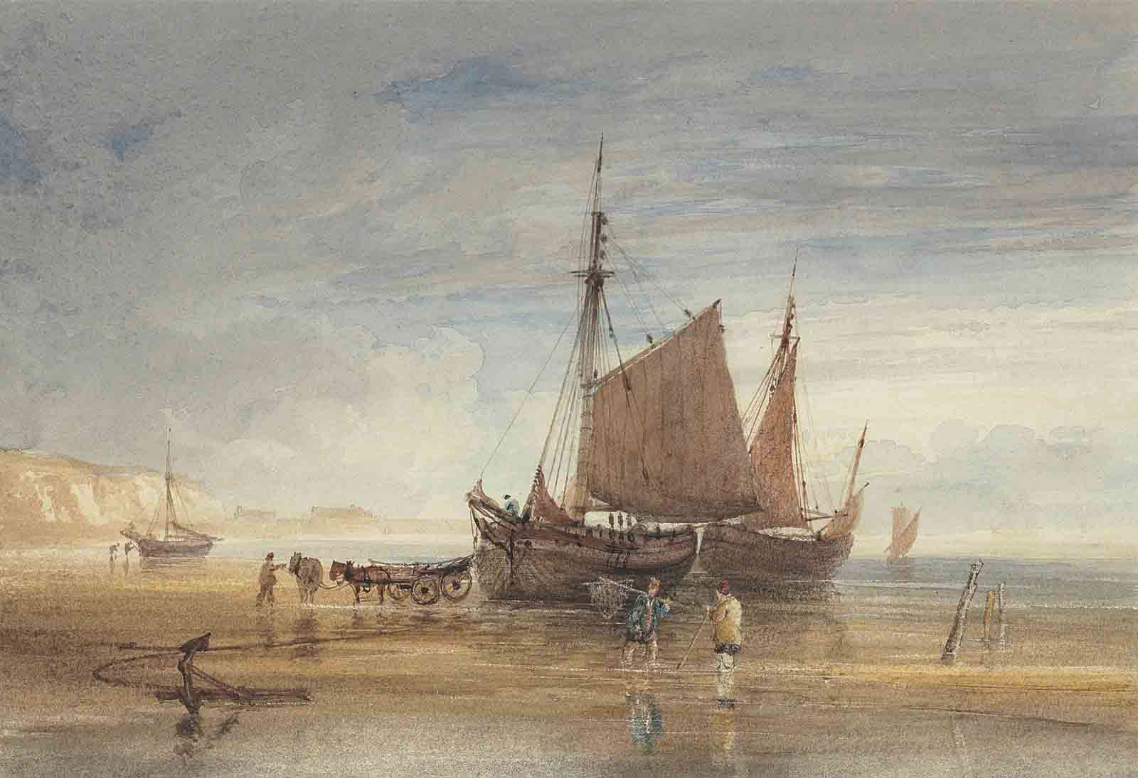 Fishing boats and shrimpers on the shore, Dover