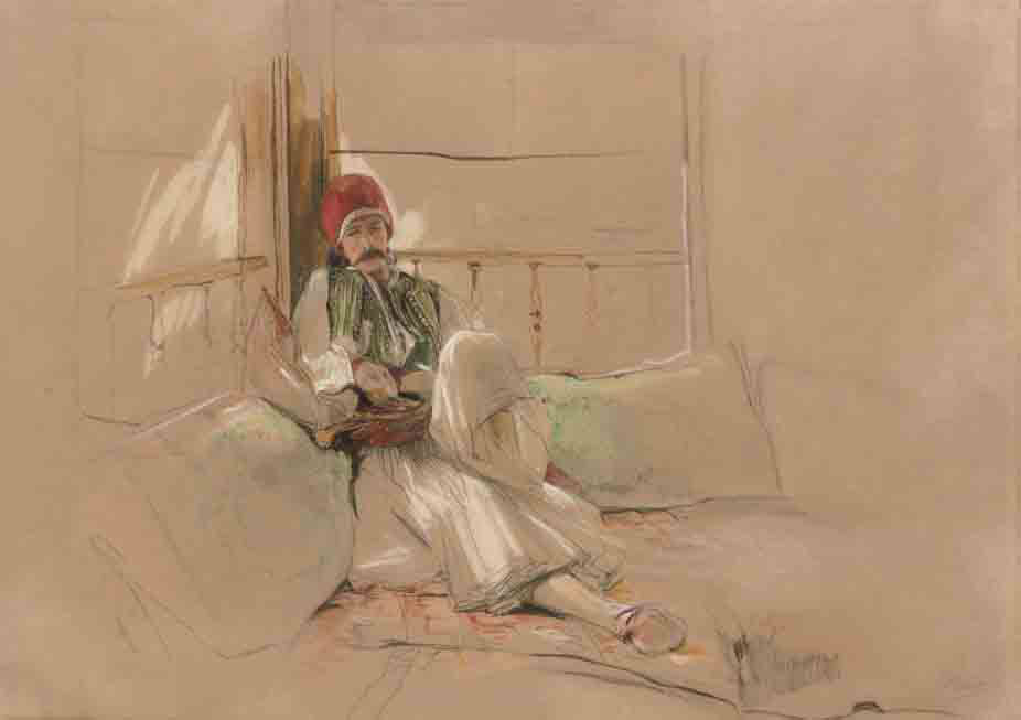A Corfiote warrior reclining among cushions