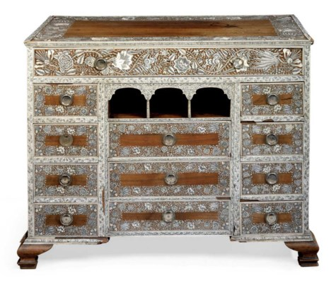 AN ANGLO-INDIAN IVORY-INLAID R