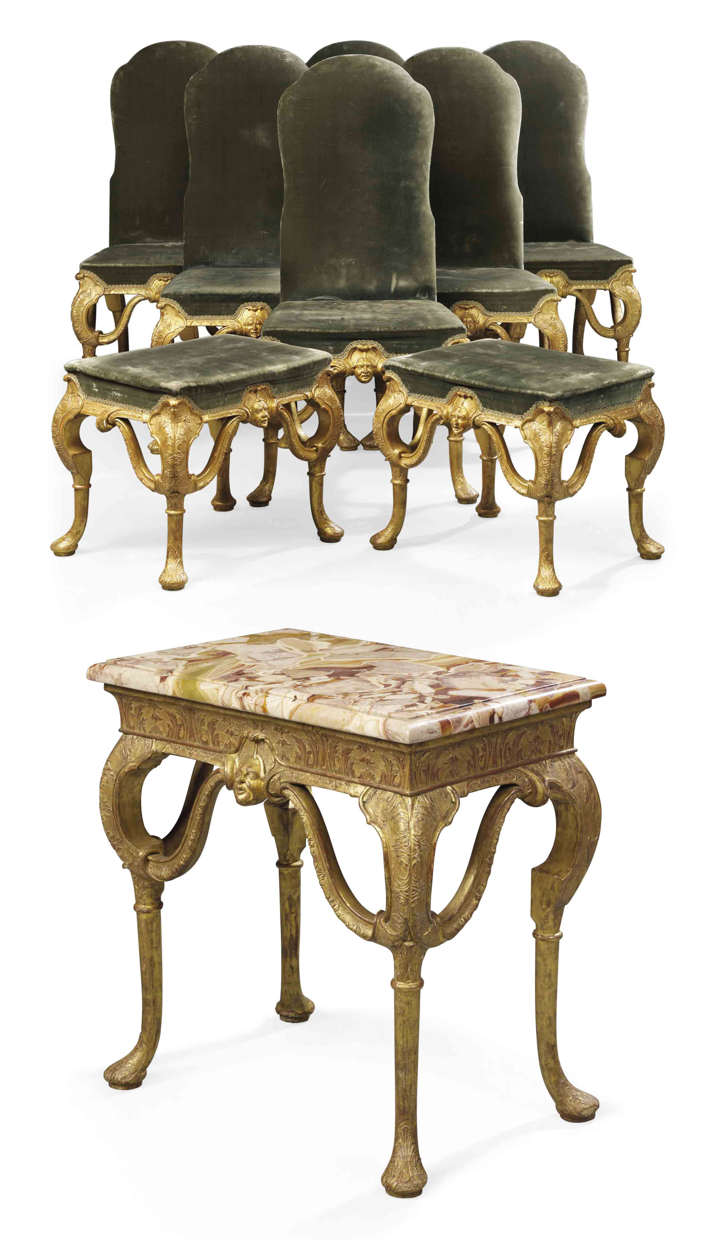 A SUITE OF QUEEN ANNE GILT-GESSO SEAT-FURNITURE AND SIDE TABLE