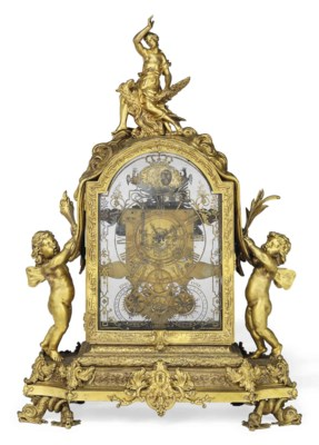 a large louis xiv ormolu striking mantel clock the glass. Black Bedroom Furniture Sets. Home Design Ideas