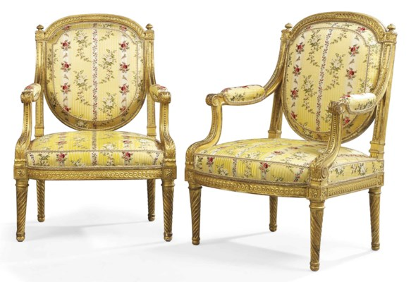 A pair of louis xvi giltwood fauteuils by jean baptiste for Chambre louis xvi versailles