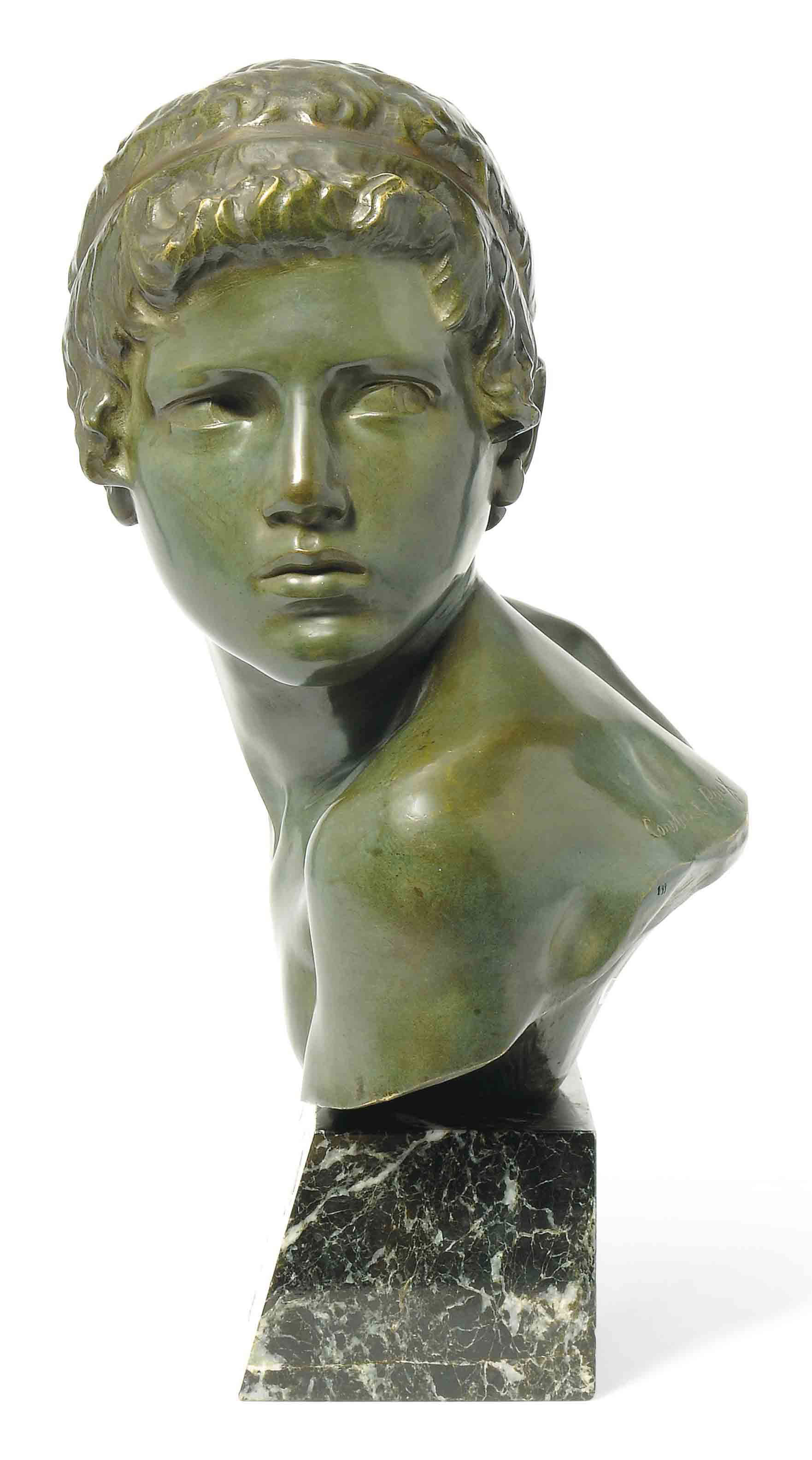 'THE CHILD ACHILLES', A PATINATED BRONZE BUST BY CONSTANT ROUX
